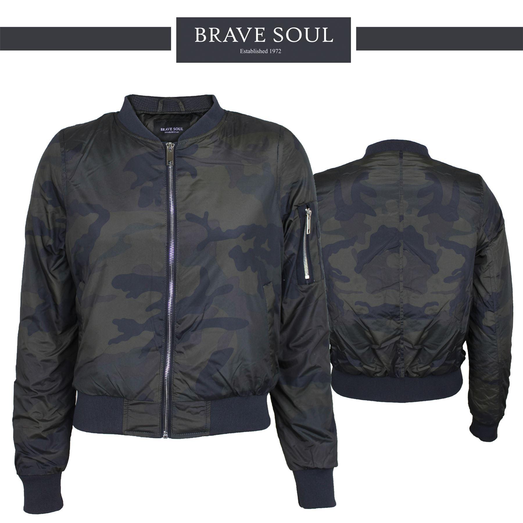 Womens Ladies Brave Soul Camouflage Mod MA1 Bomber Padded Jacket
