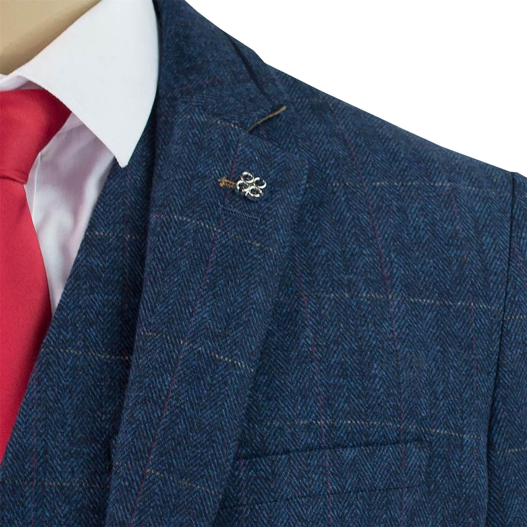 Pantaloni 3 Pantaloni Check Tweed Cavani Blu Herringbone Carnegi Uomo Blazer pezzi Wasitcoat zrxwUz
