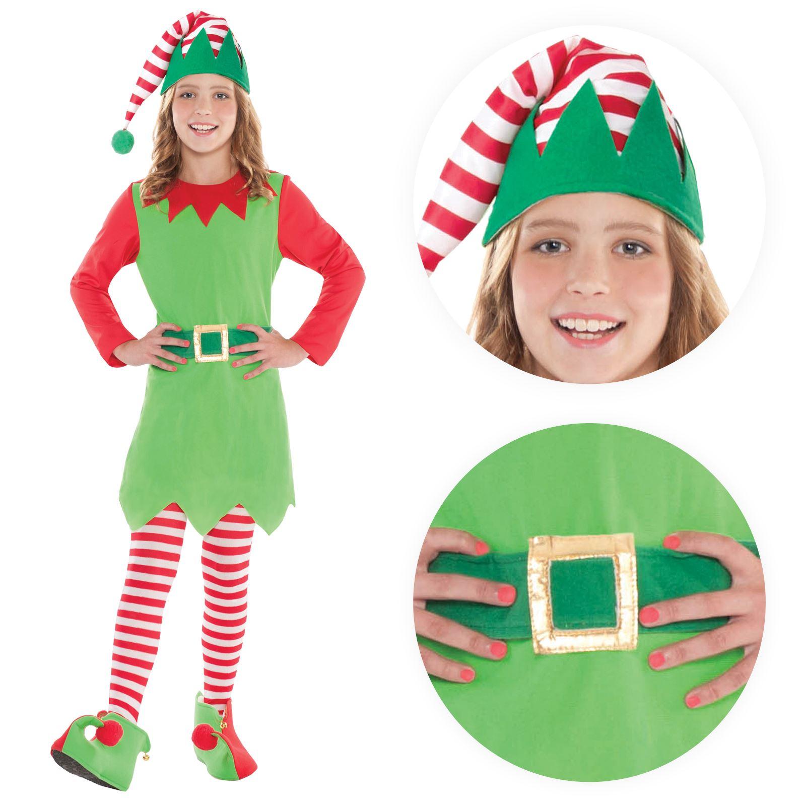 lujo nia elfo disfraz papa noel ayudante navidad disfraz fiesta
