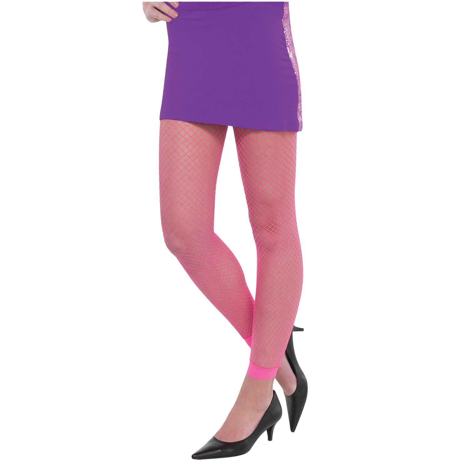 Adult Ladies Neon Pink 80s Disco Rave Fishnet Footless Tights Hosiery Accessory
