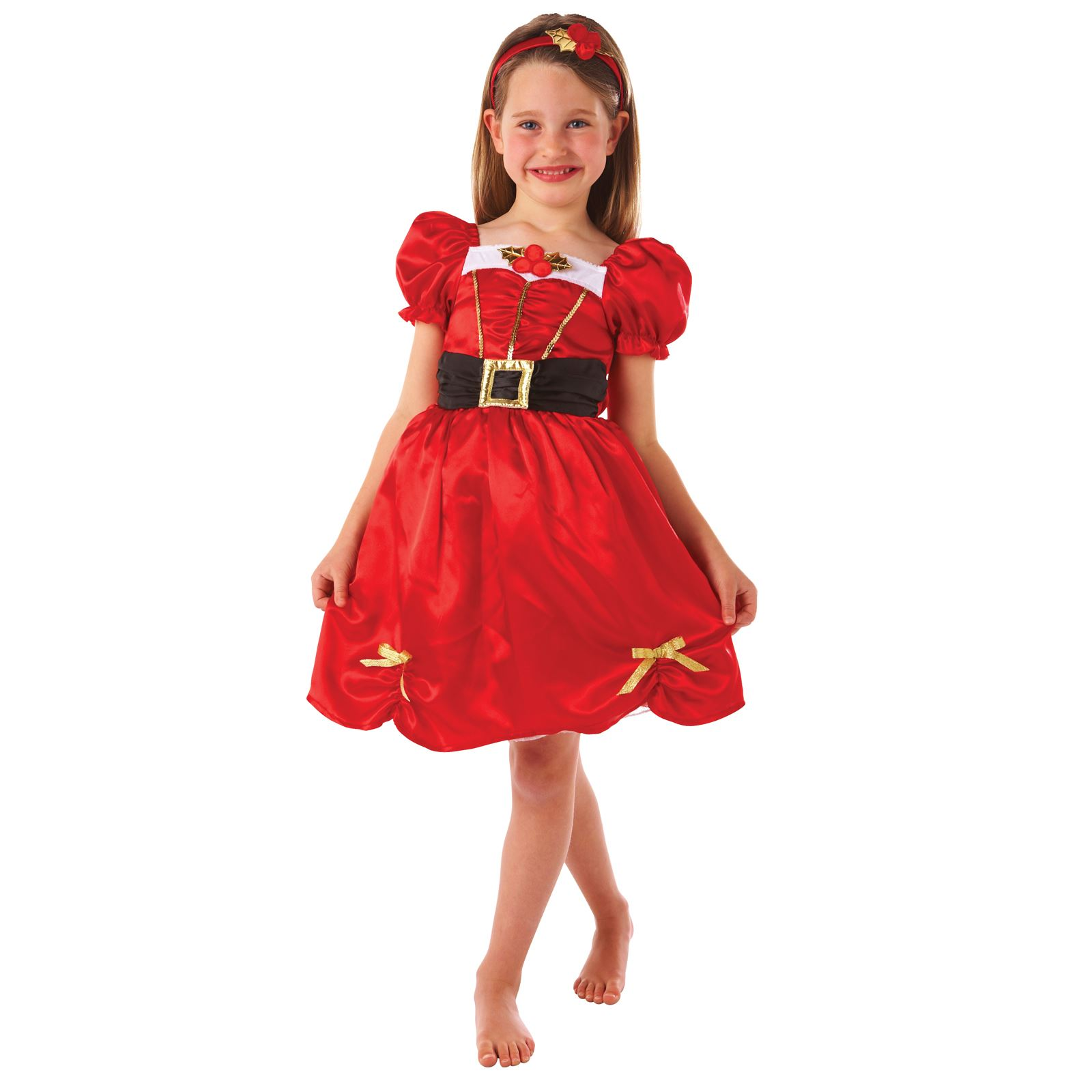 Girls Red Little Miss Santa Claus Christmas Day Fancy Dress Costume