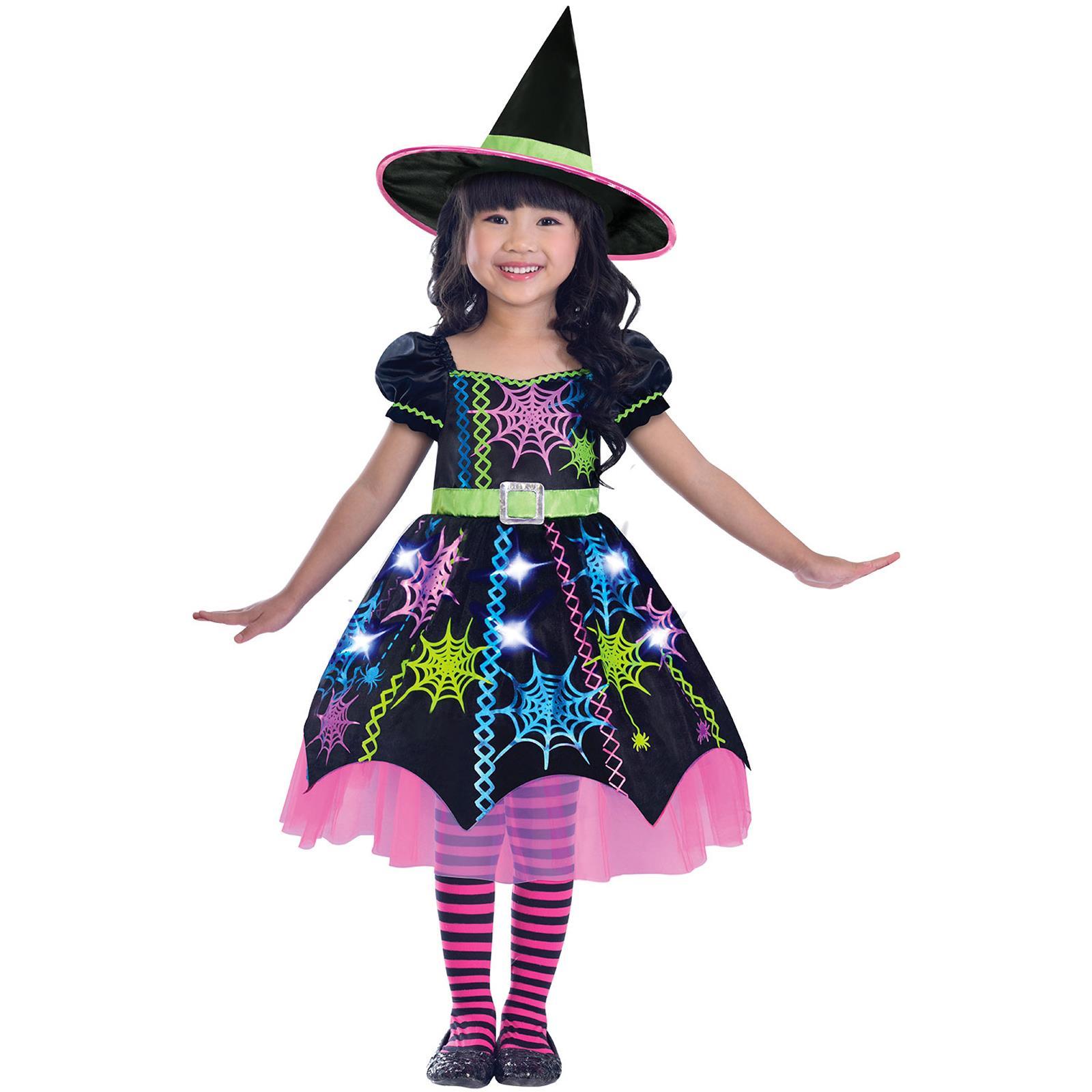 Girls Kids Toddler Spider Rainbow Witch Cute Halloween Fancy Dress Costume Ebay