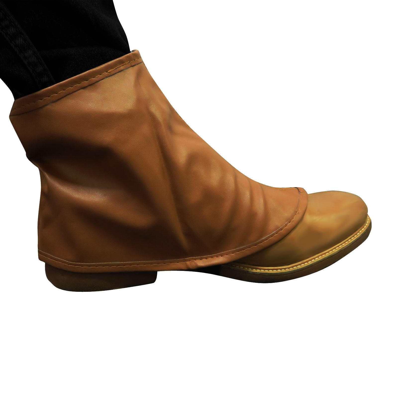 Brown Spats Steampunk Shoe Boot Covers Leather Look