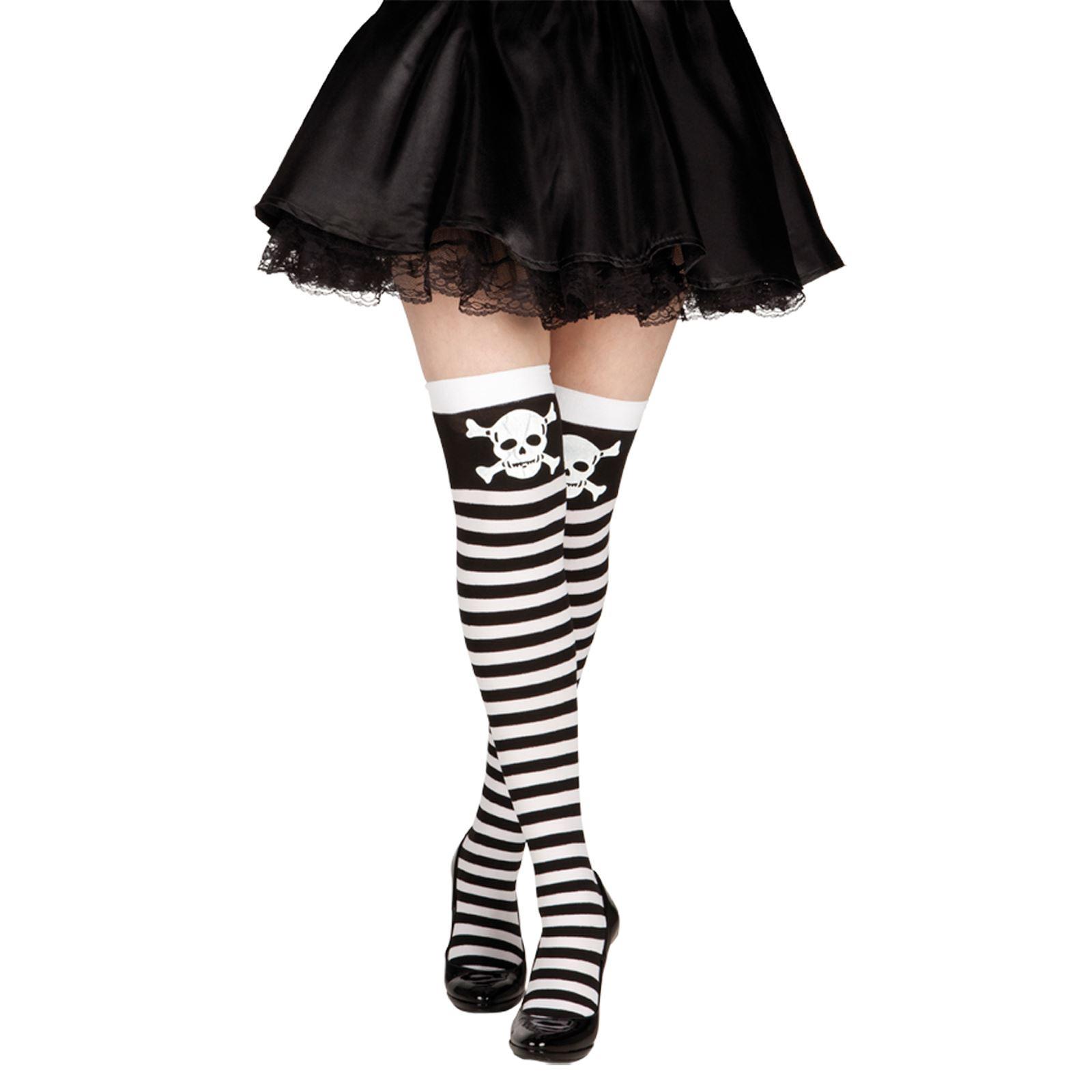 Costume//Nero Halloween Teschio E Ossa Incrociate Collant Calze Taglia Unica Nuovo con Etichetta