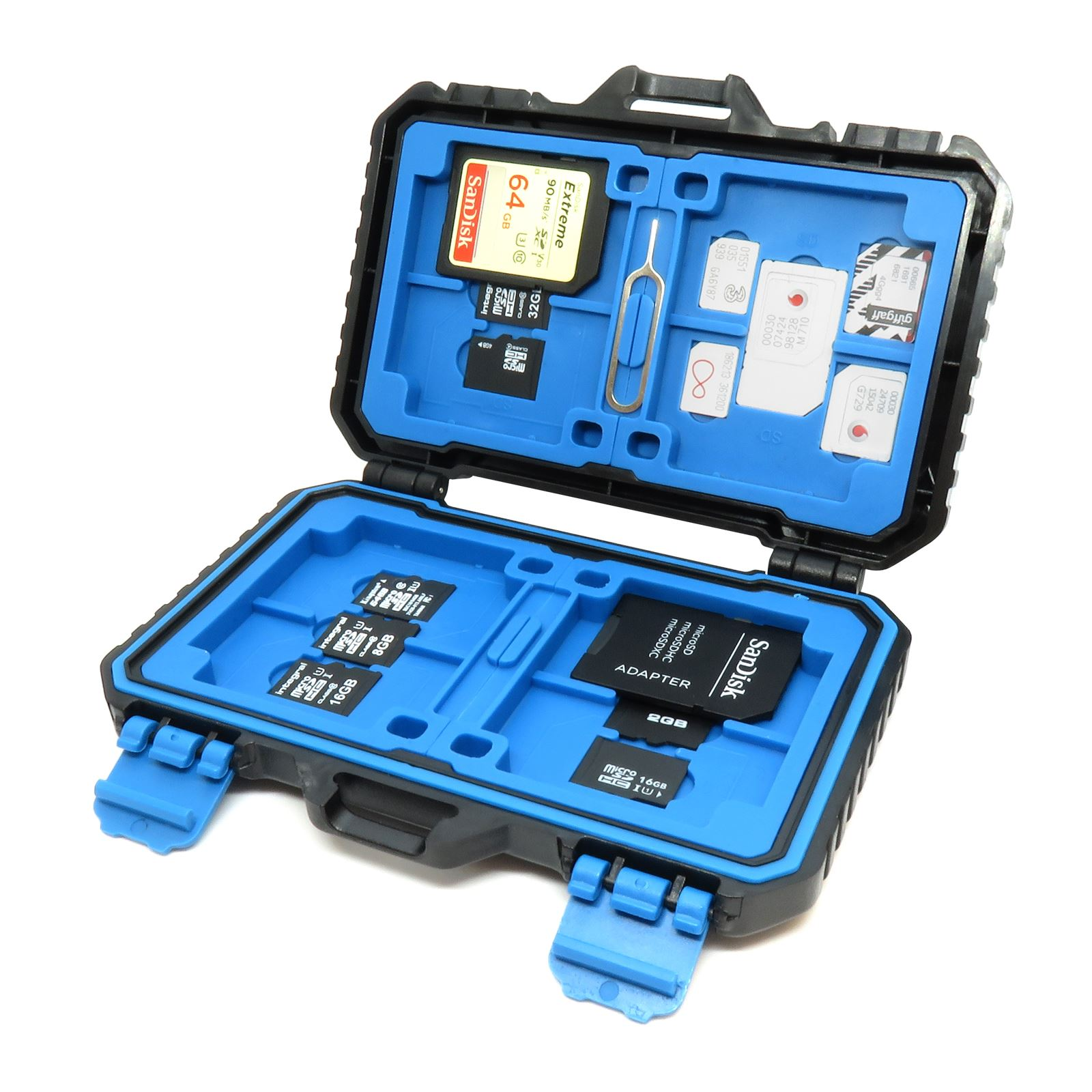 SD Micro SD CF SIM Card Storage Case Holder Portable Water Resistant Box upto 26