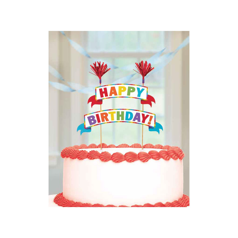 Cake Banners Happy Birthday Picks Gold Rainbow Decorative