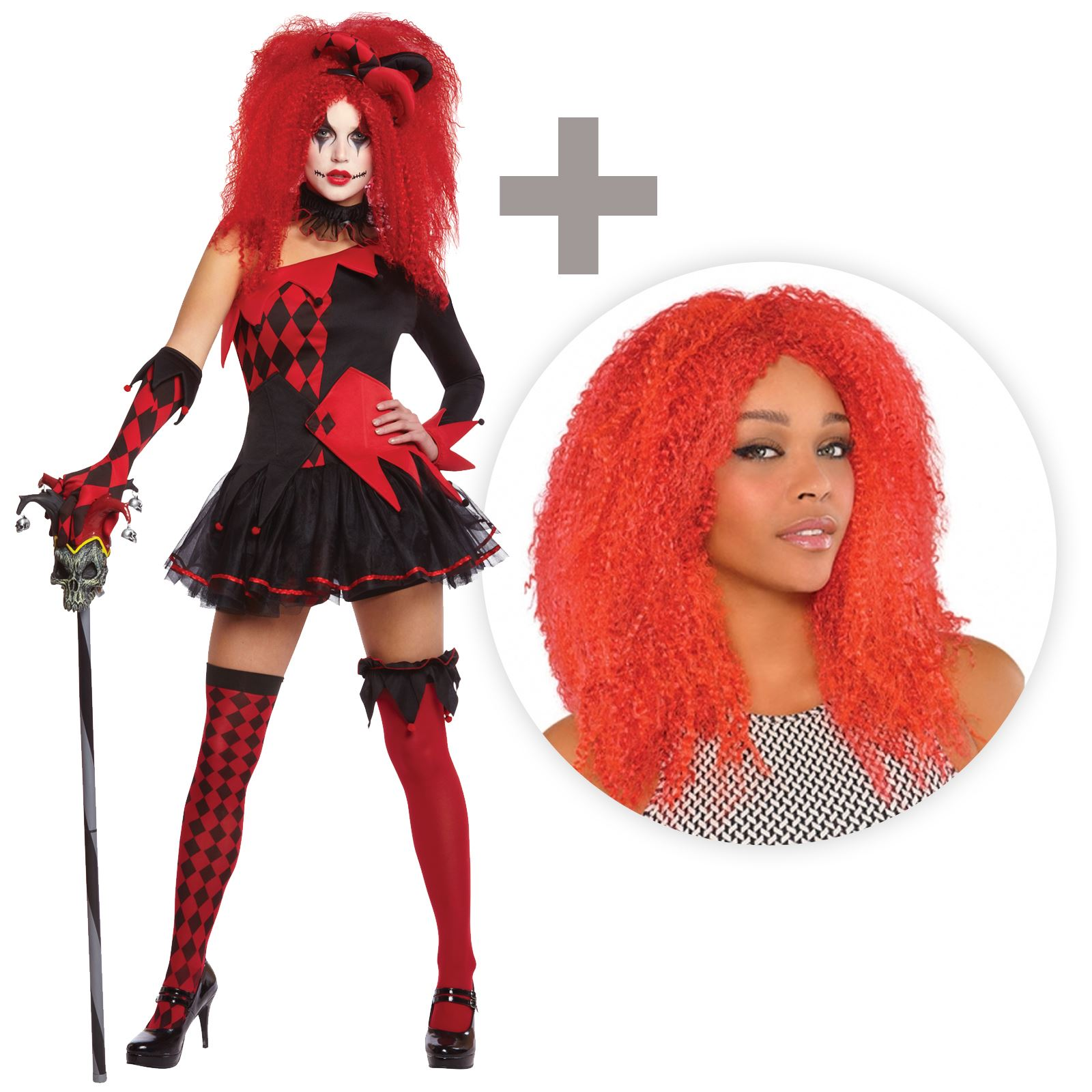 Adult Red Crimped Wig Harlequin Honey Jesterina Fancy Dress Costume Accessory