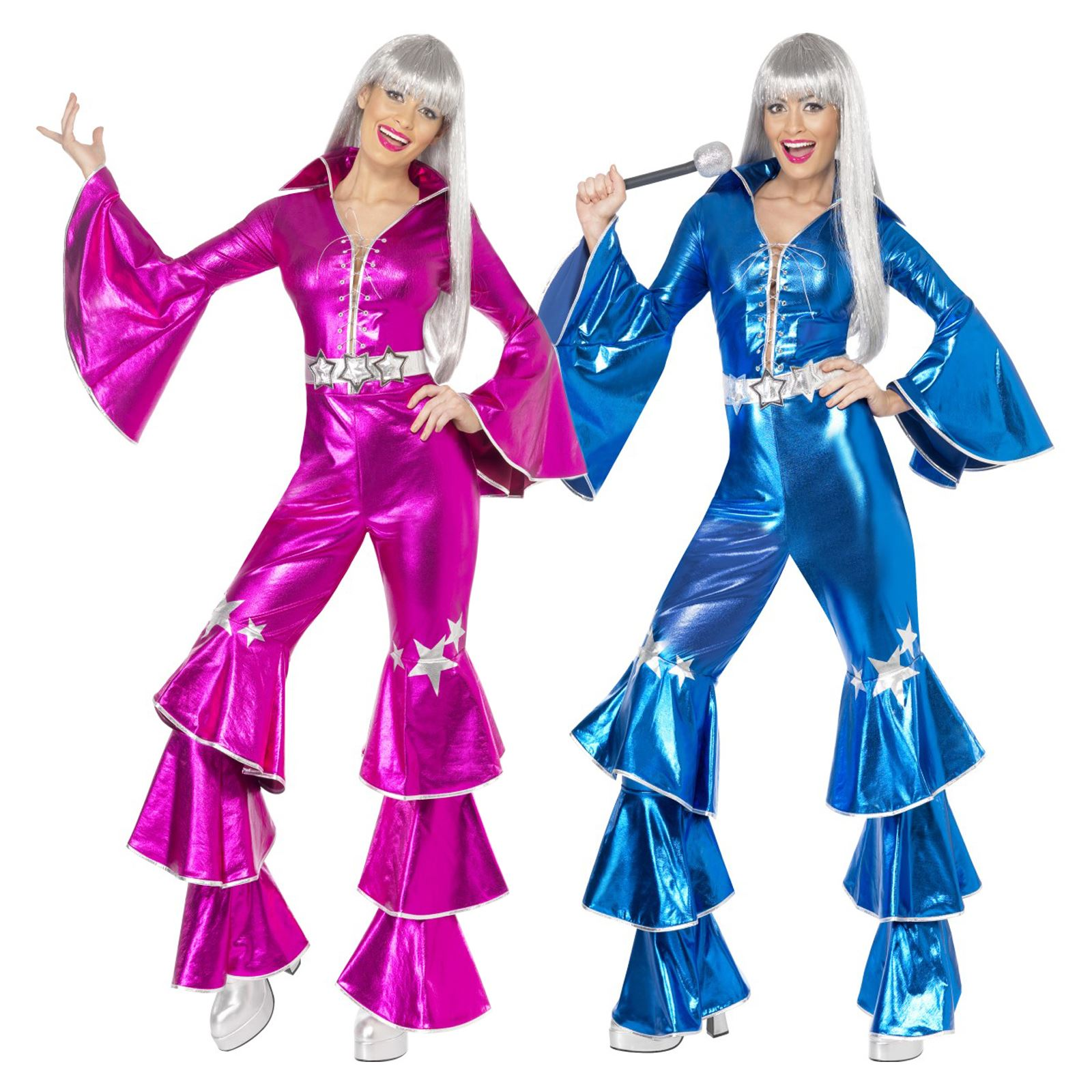 Adult Ladies 70s Disco Dancing Metallic Jumpsuit Flares Pop Star Costume Singers