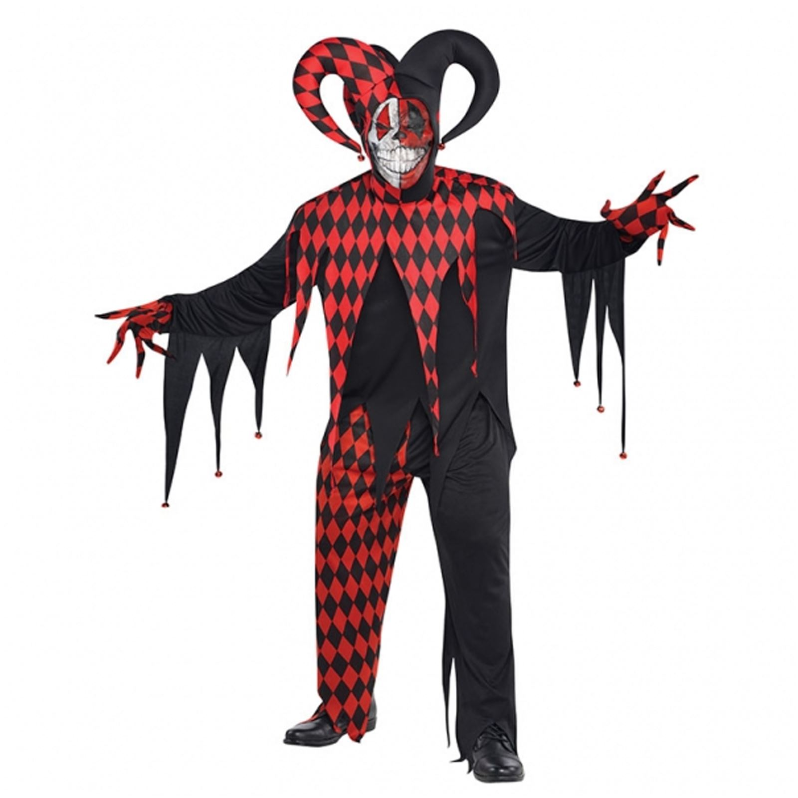 Krazed Jester Evil Clown Fancy Dress Halloween Costume Mens Adults ...