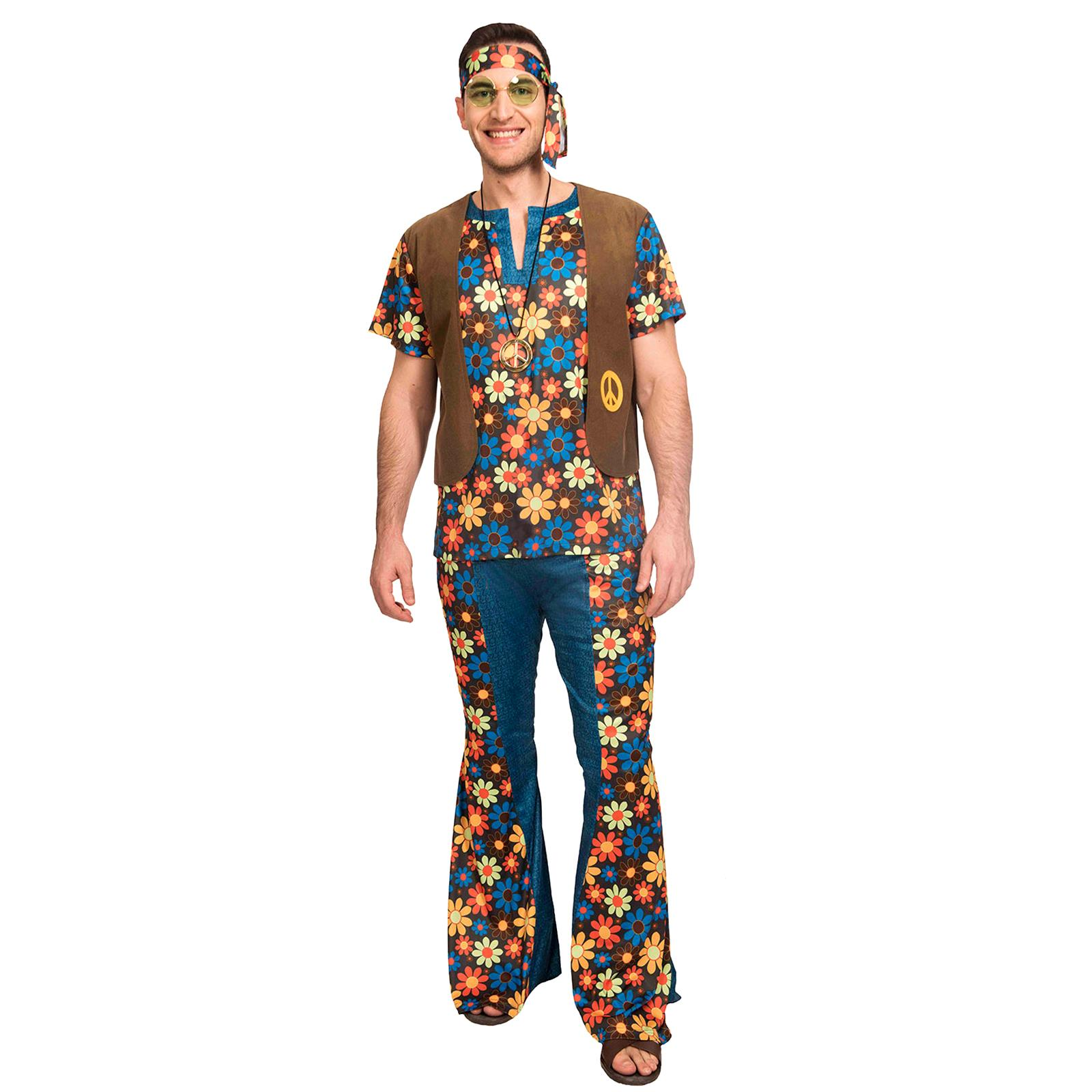 Marrone Hippie Parrucca donna Costume 60s 70s Groovy Hippy Adulto Costume Accessorio