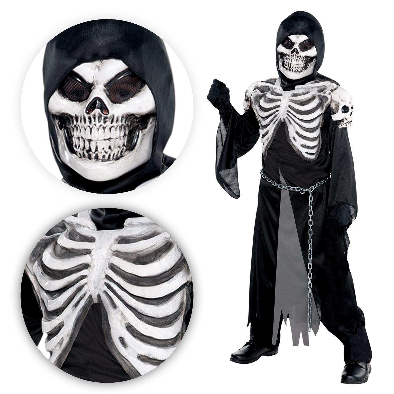 Boys Kid Teen Grim Reaper Skull Skeleton Demon Crypt Keeper Halloween Costume