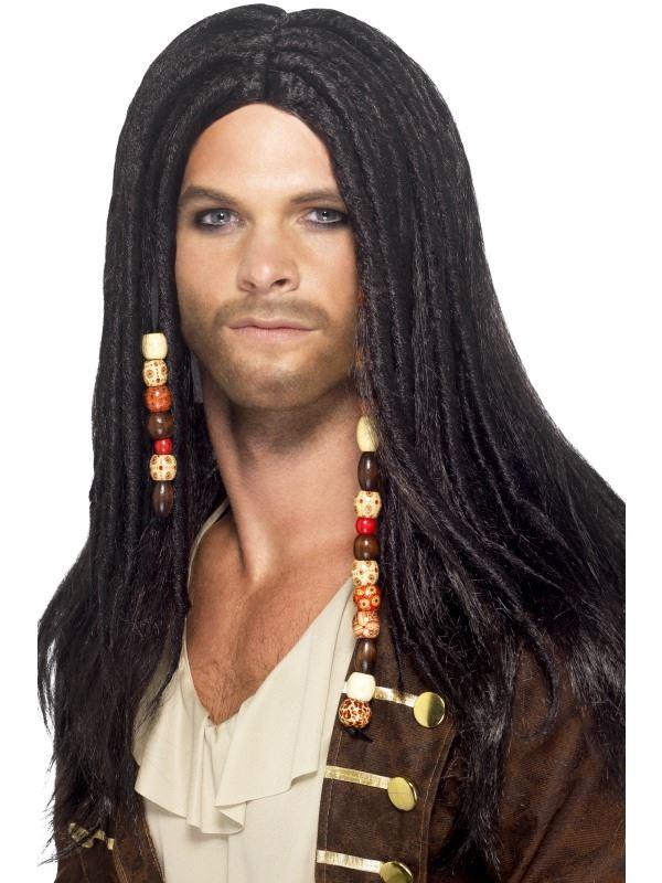 Homme Caribbean Pirate Bandanas avec Dreads Noir Perruques noir
