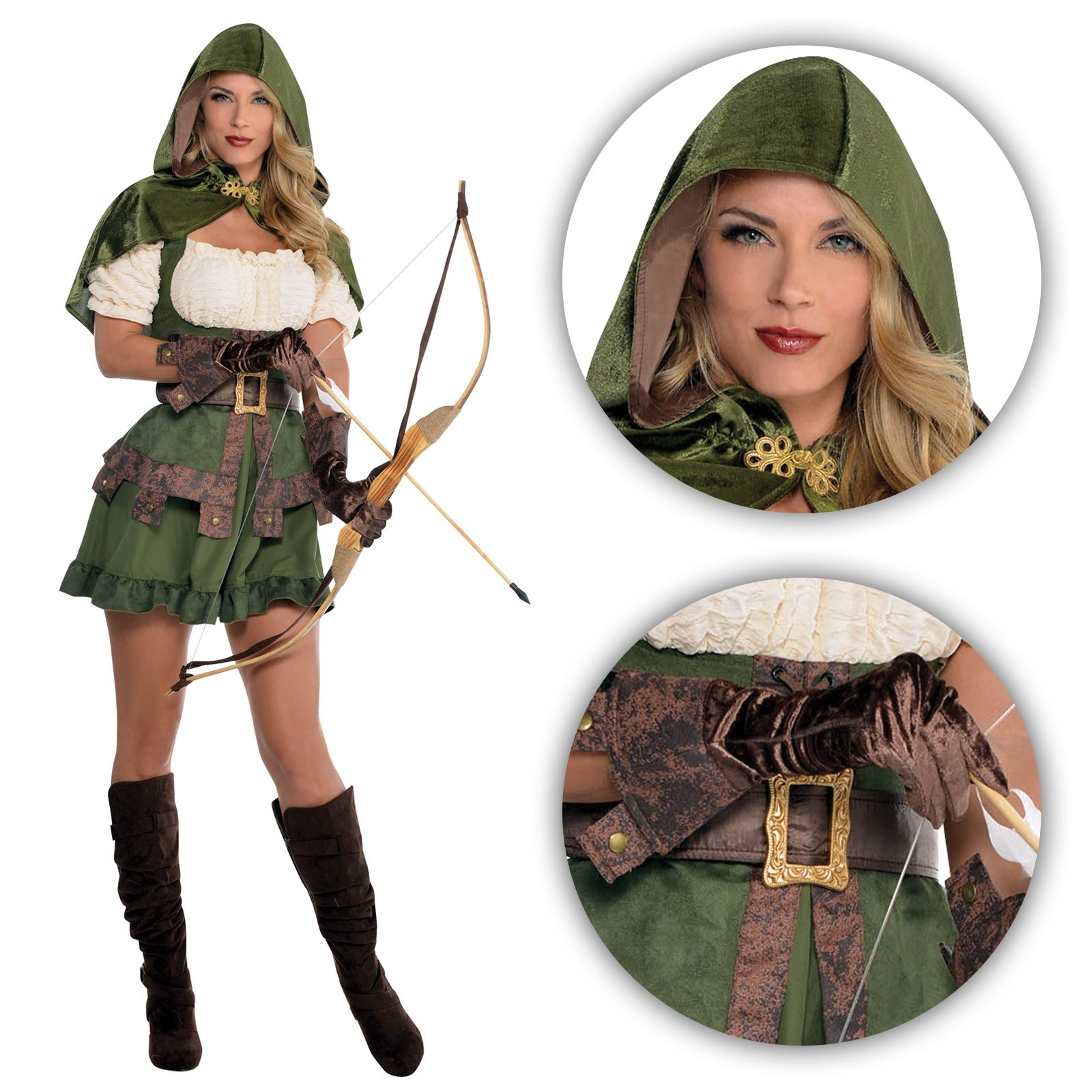 Ladies Sexy Robin Hood Fancy Dress Costume  sc 1 st  eBay & Ladies Medieval Elf Elven Archer Robin Hood Maid Marion Pan Fancy ...