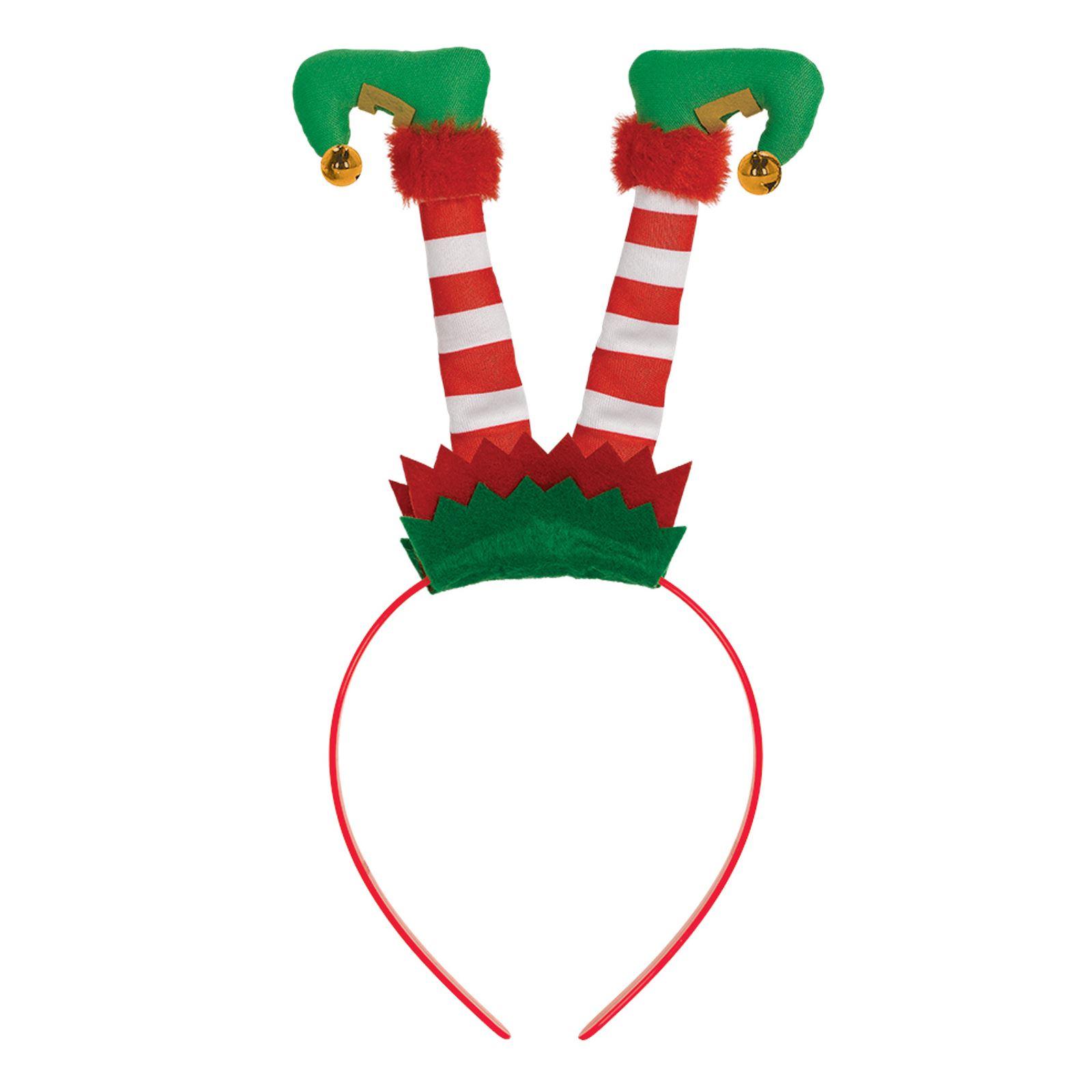 VERDE rosso capovolto Elf fascia per capelli Babbo Natale aiutante Festa Di Natale Natale Accessorio