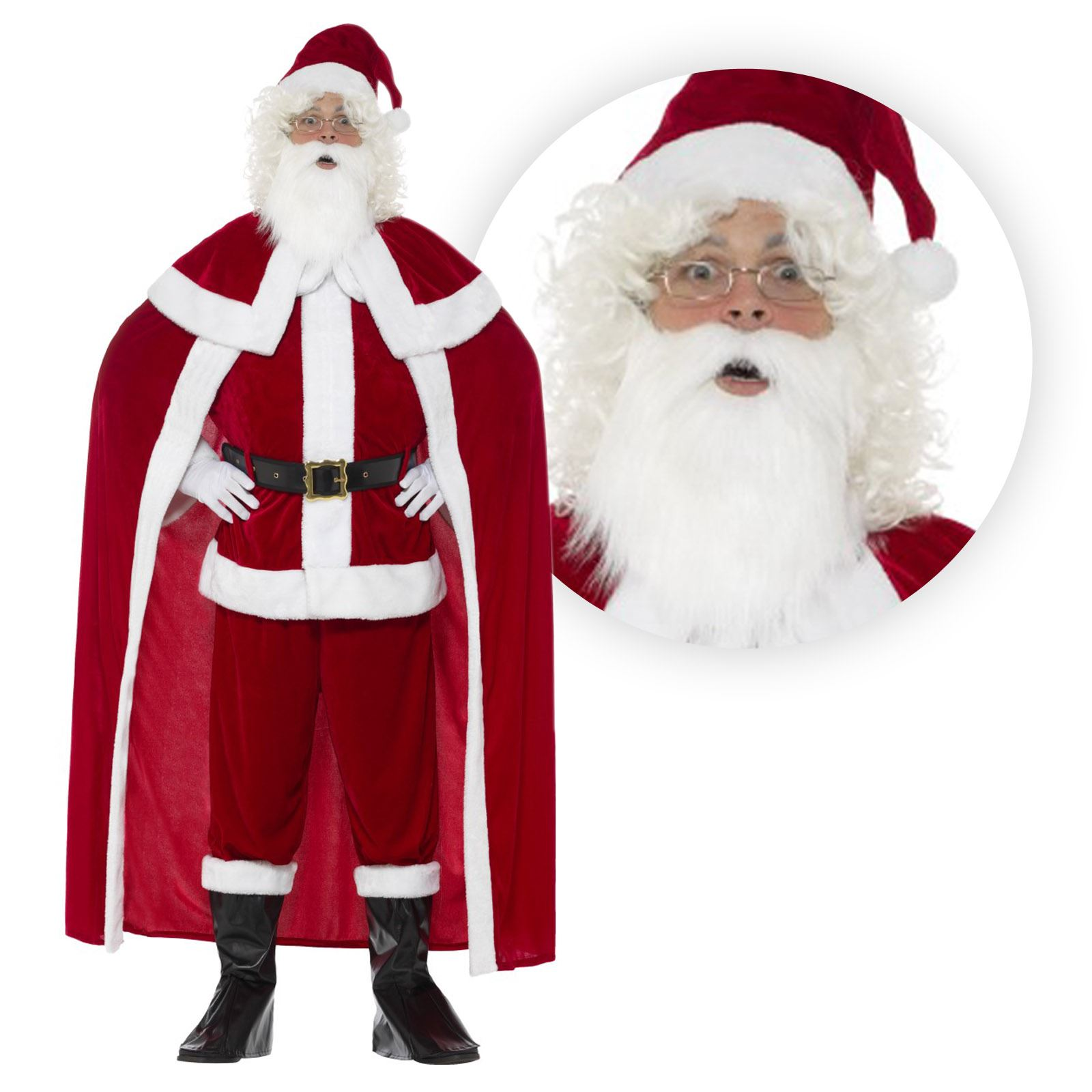 Deluxe Crimson Plush Santa Suit Father Christmas Xmas Fancy Dress ...