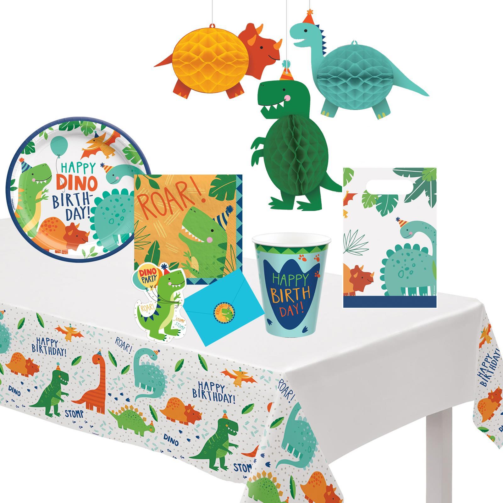 Amycute Dinosaur Disposable Tableware Birthday Party Supplies with Dinosaur Slap Bracelets Plates Cups Napkins Knifes Forks Straws balloon Dinosaur 3D Stickers Serves 8 for Boys,Girls,Baby Showers Birthday Party Favors Decorations- Party Supplies Dinosaur