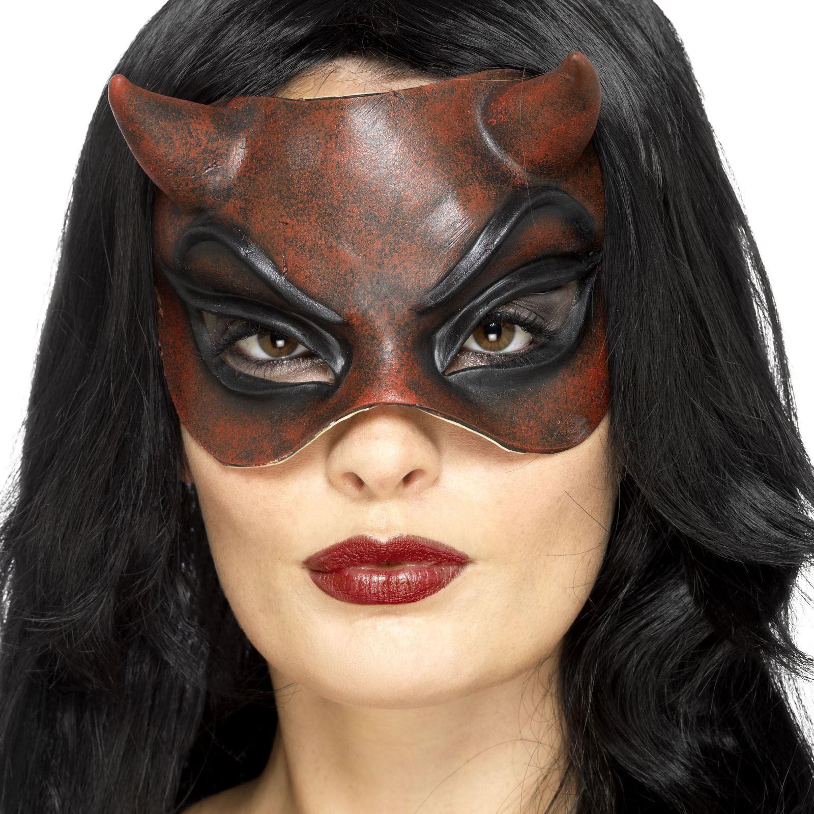 Deluxe Red Latex Devil Diablo Mask Halloween Fancy Dress