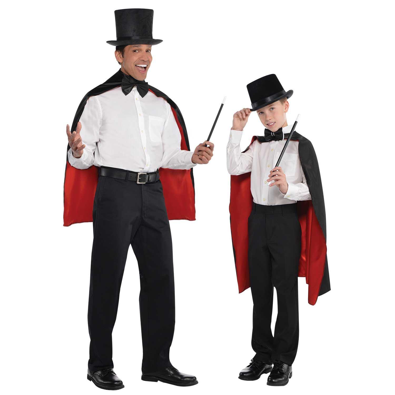 Dracula ou magique-Cape avec col Magicien Cape Costume Noir//rouge