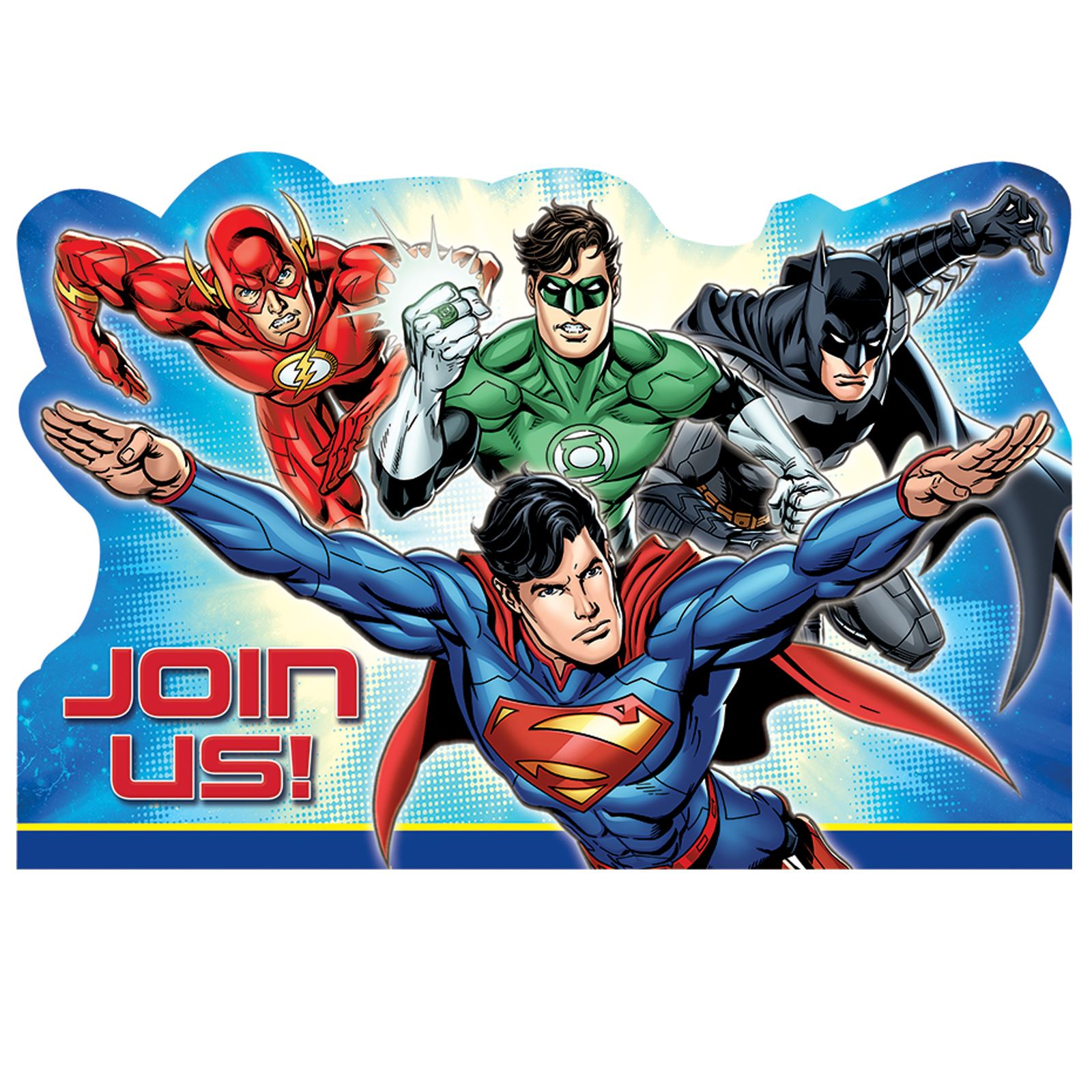 8 Superhero Justice League Party Invitation Batman Flash Superman ...