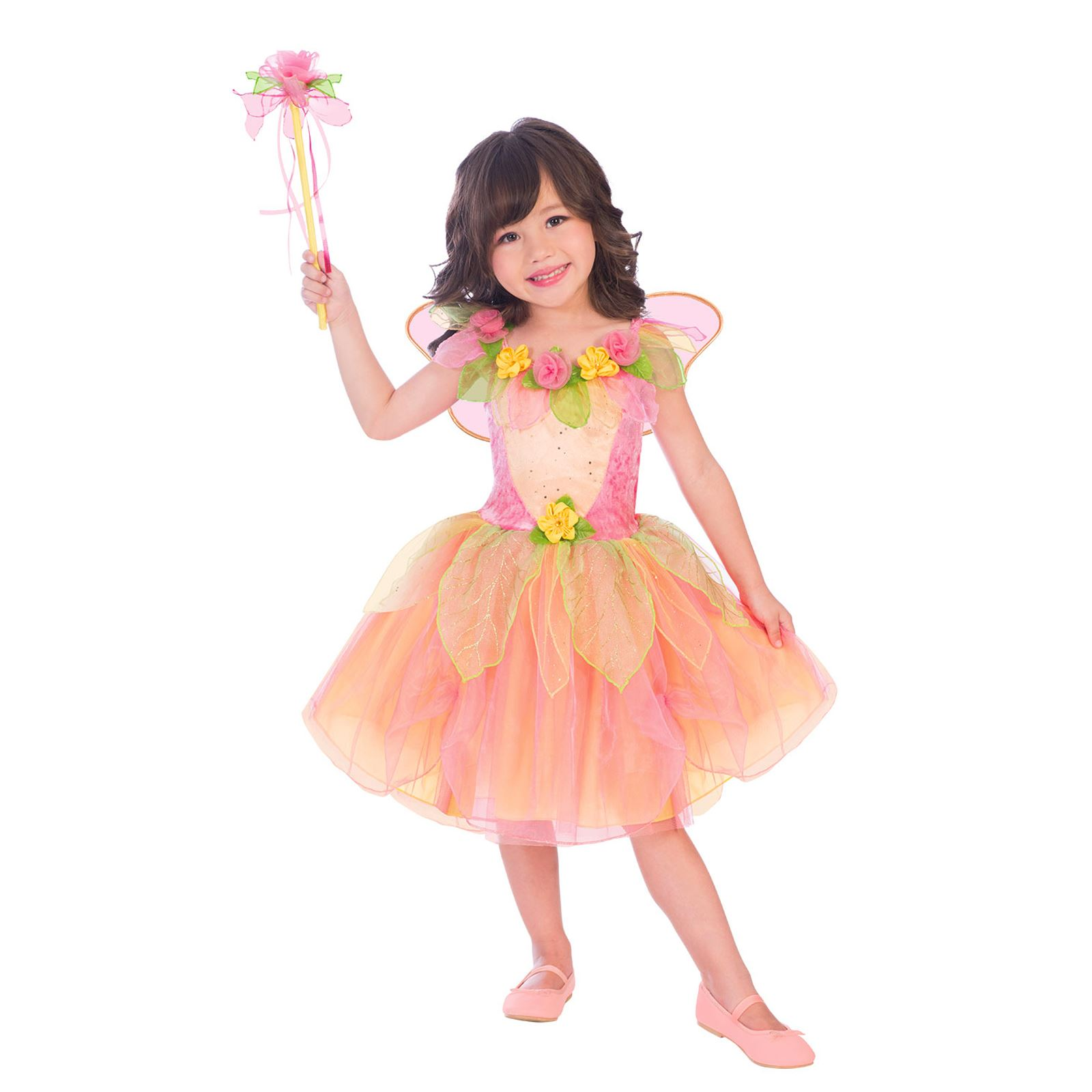 55aad1fc399 Details about Girls Spring Peach Garden Fairy Fancy Dress Book Fairytale  Party Costume Kids