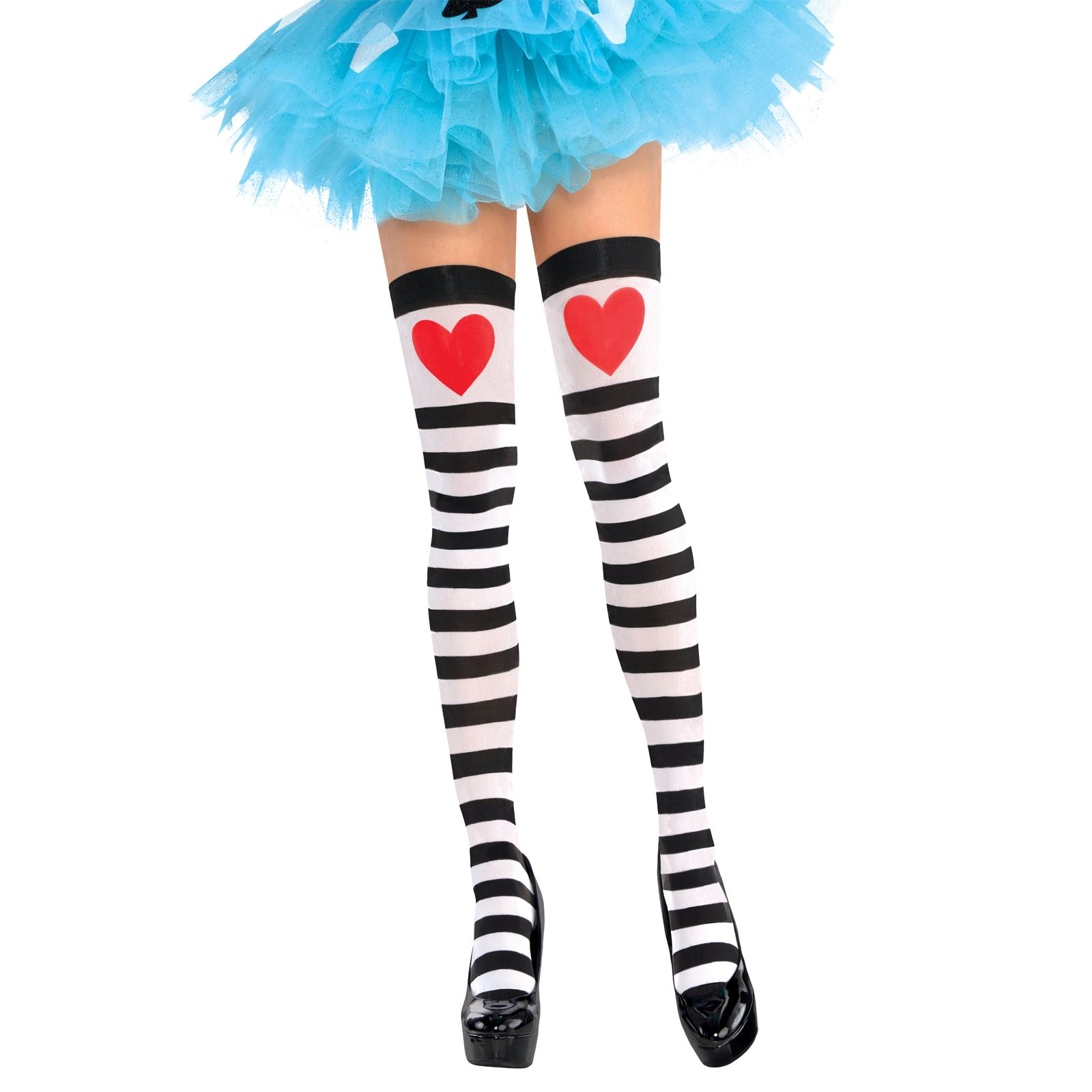 cee859f27 Ladies Queen Hearts Stockings Stripes Knee High Sexy Costume ...