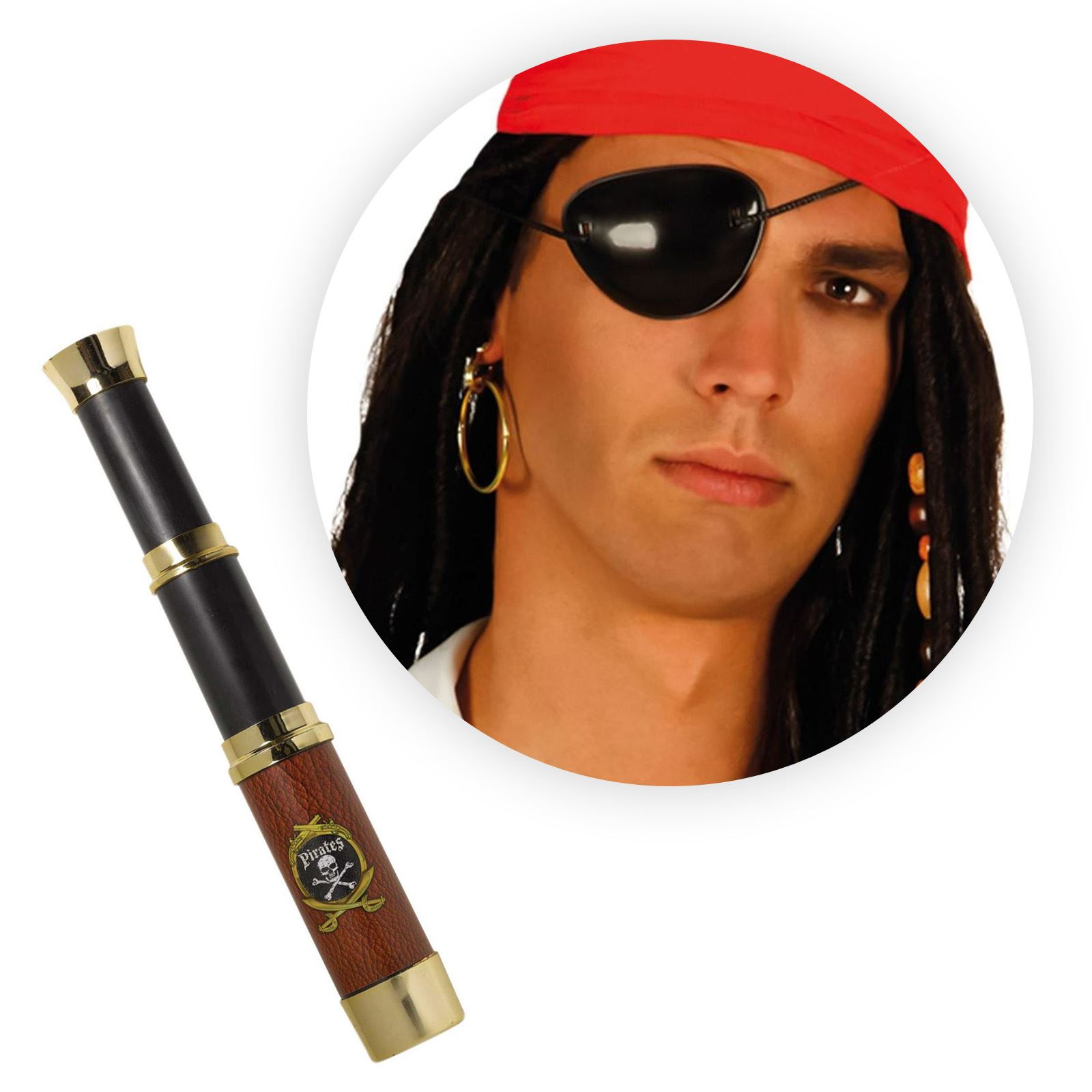 Costume Pirata Accessorio Telescopio Oro e Marrone