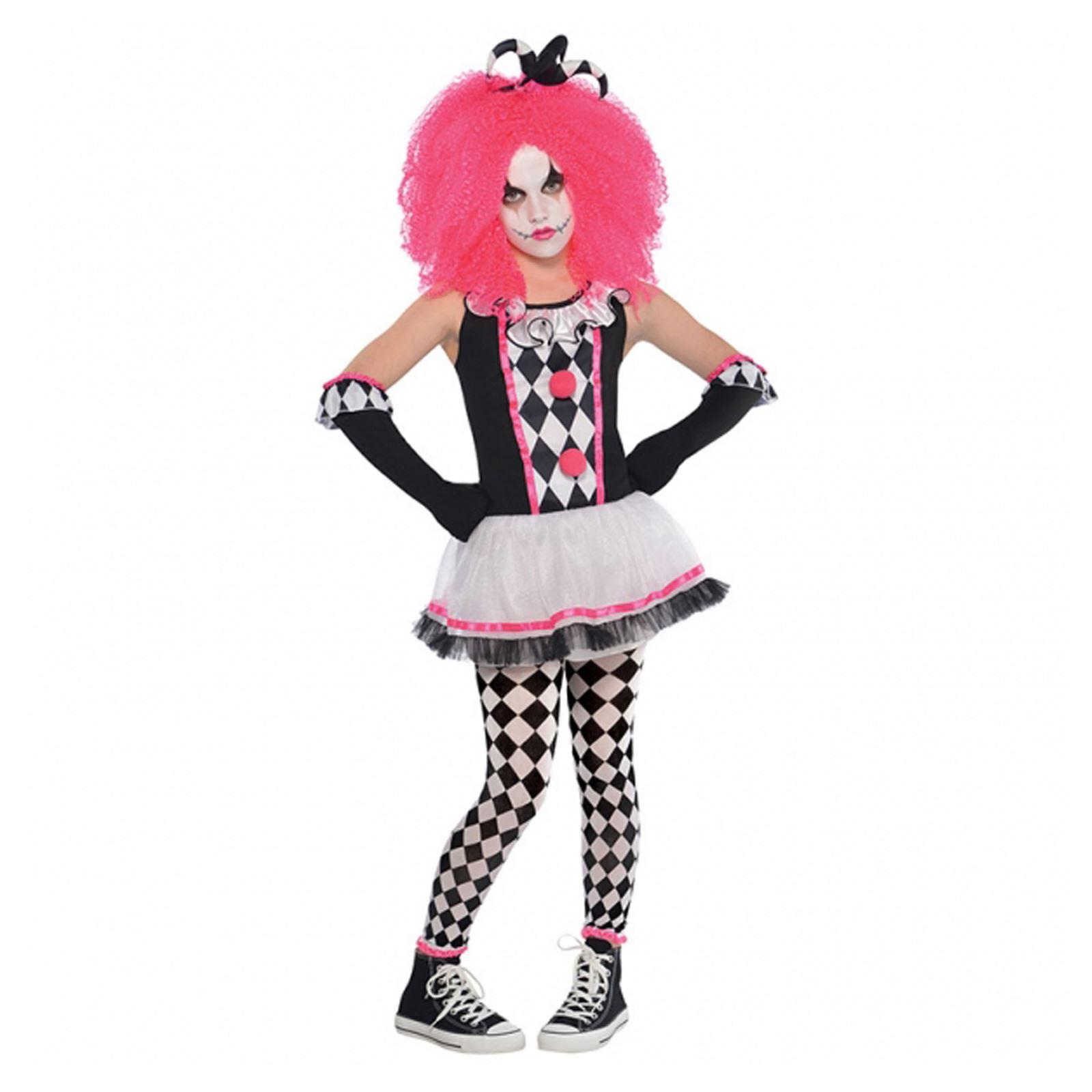 Girls Circus Sweetie Clown Harlequin Jester Halloween Fancy Dress ...