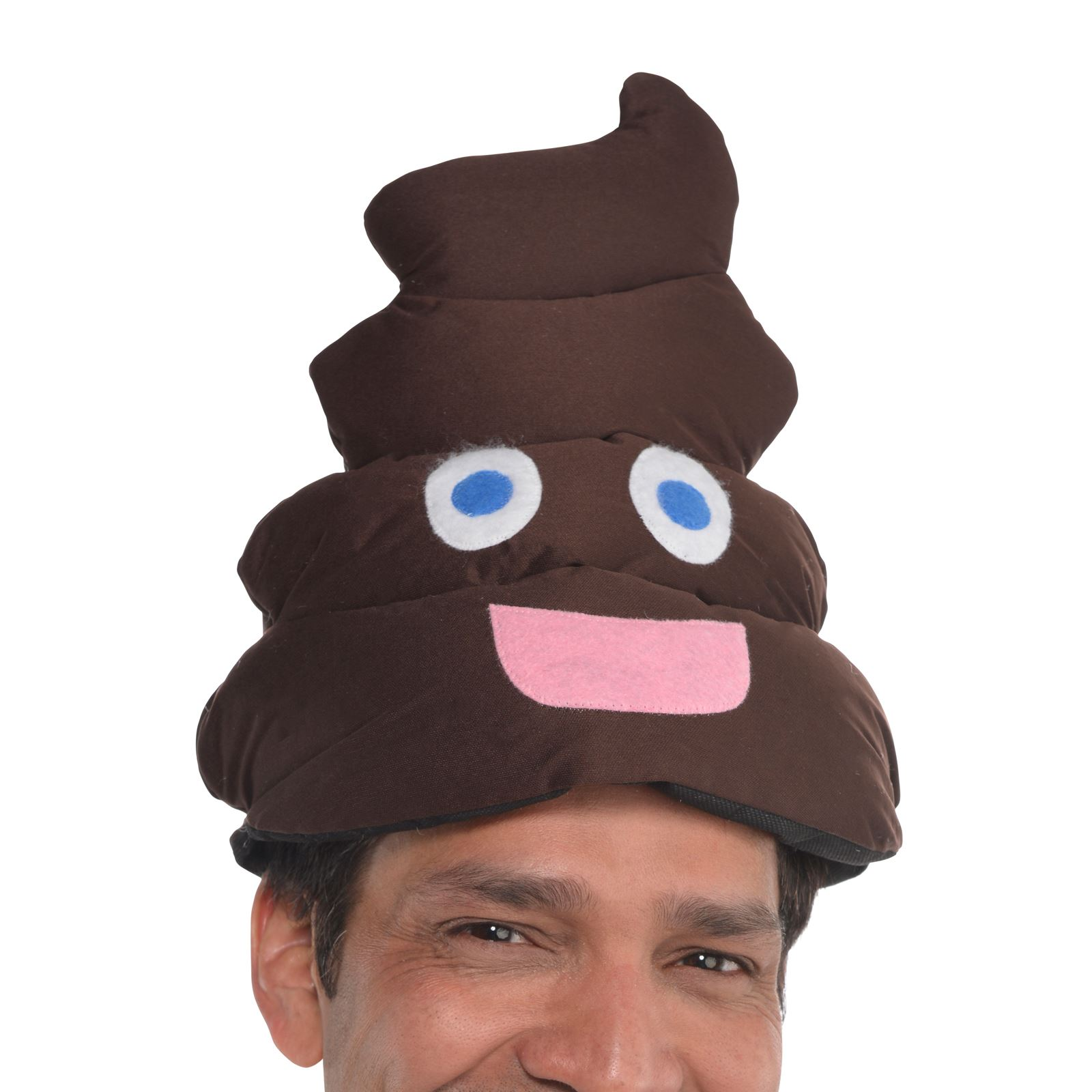 Adults Smiley Poop Emoji Face Hat Funny Party Stag Fancy