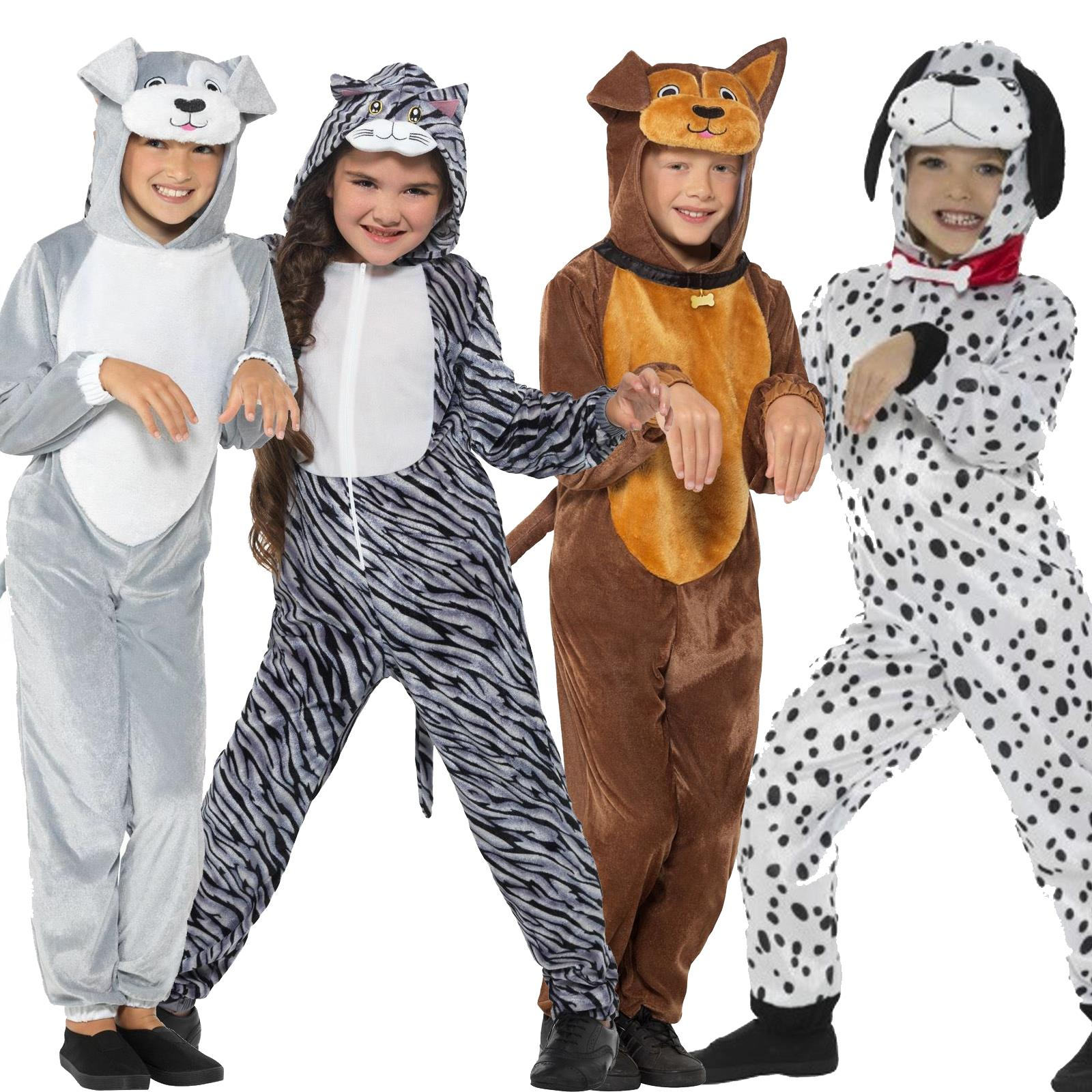 New Girls Boys Pet Dog Cat Paw Book Week Fancy Dress Costume Vet Animal Jumpsuit