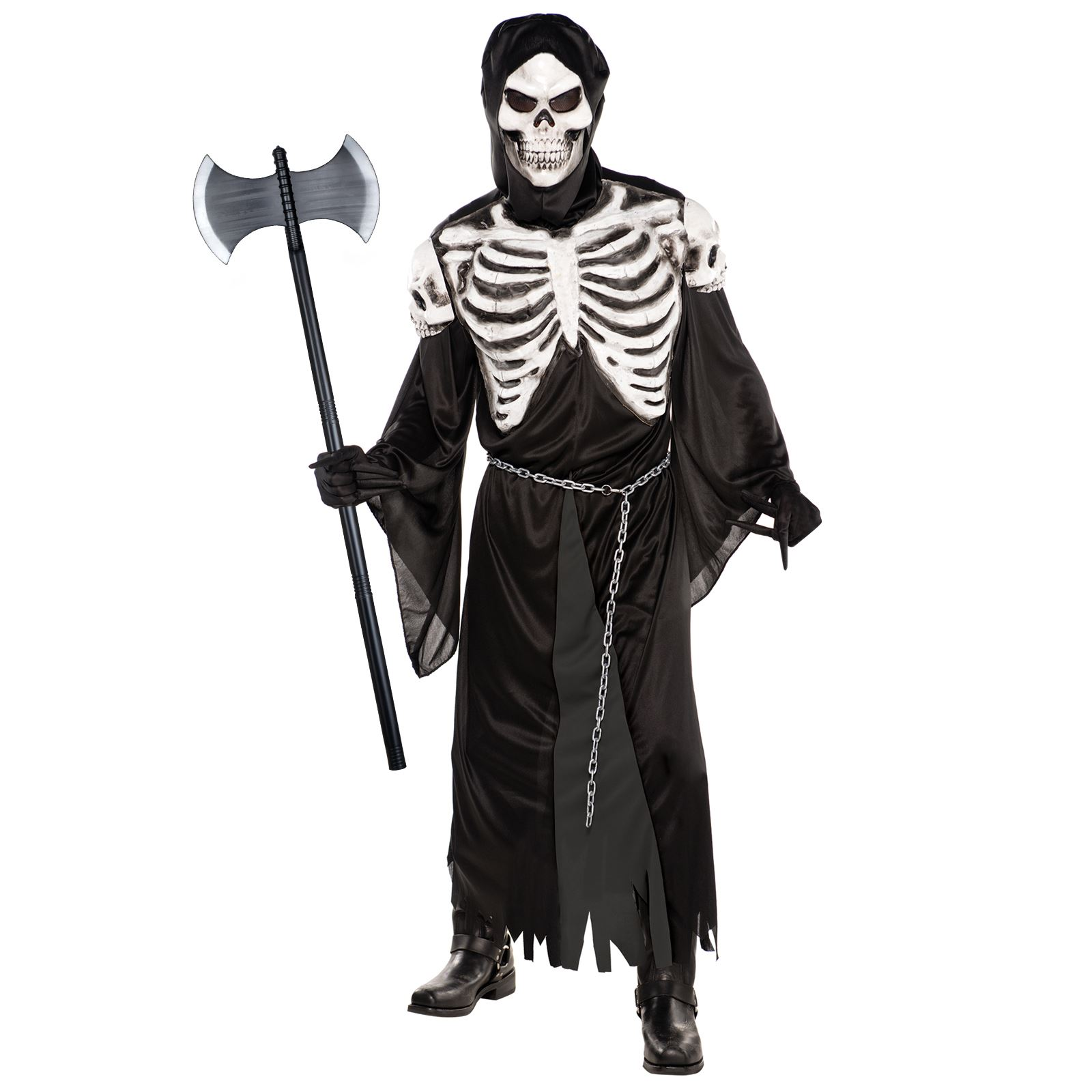 Mens Halloween Crypt Keeper Ghoul Fancy Dress Skeleton Costume Gents One Size