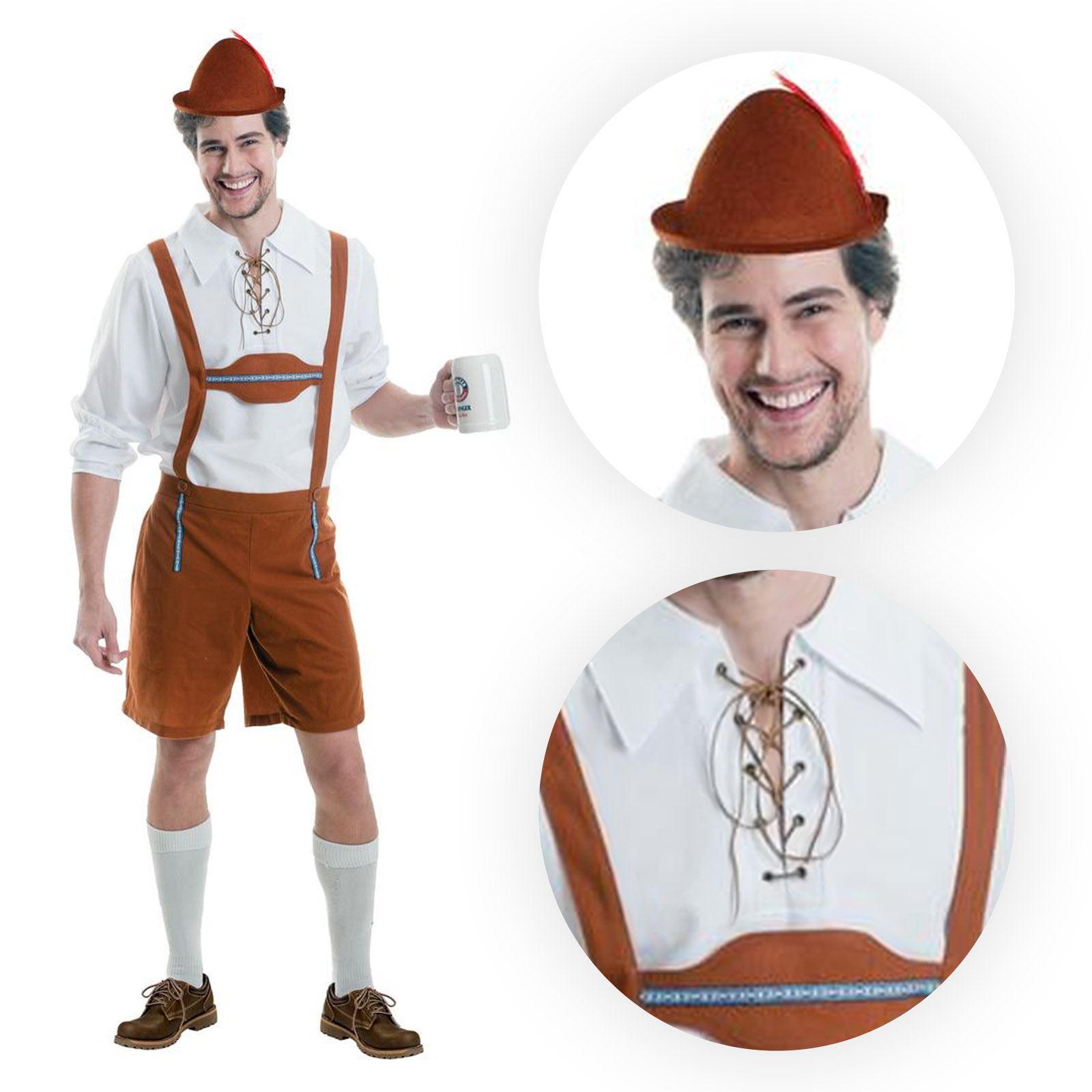 Para Hombre Lederhosen Oktoberfest Cerveza Bávara Tipo Alemán Fancy Dress Costume New