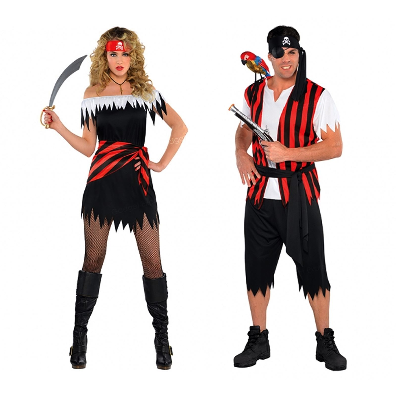 4ece9b0f0ba Details about Mens Womens Caribbean Pirate Captain Halloween Fancy Dress  Party Couples Outfit