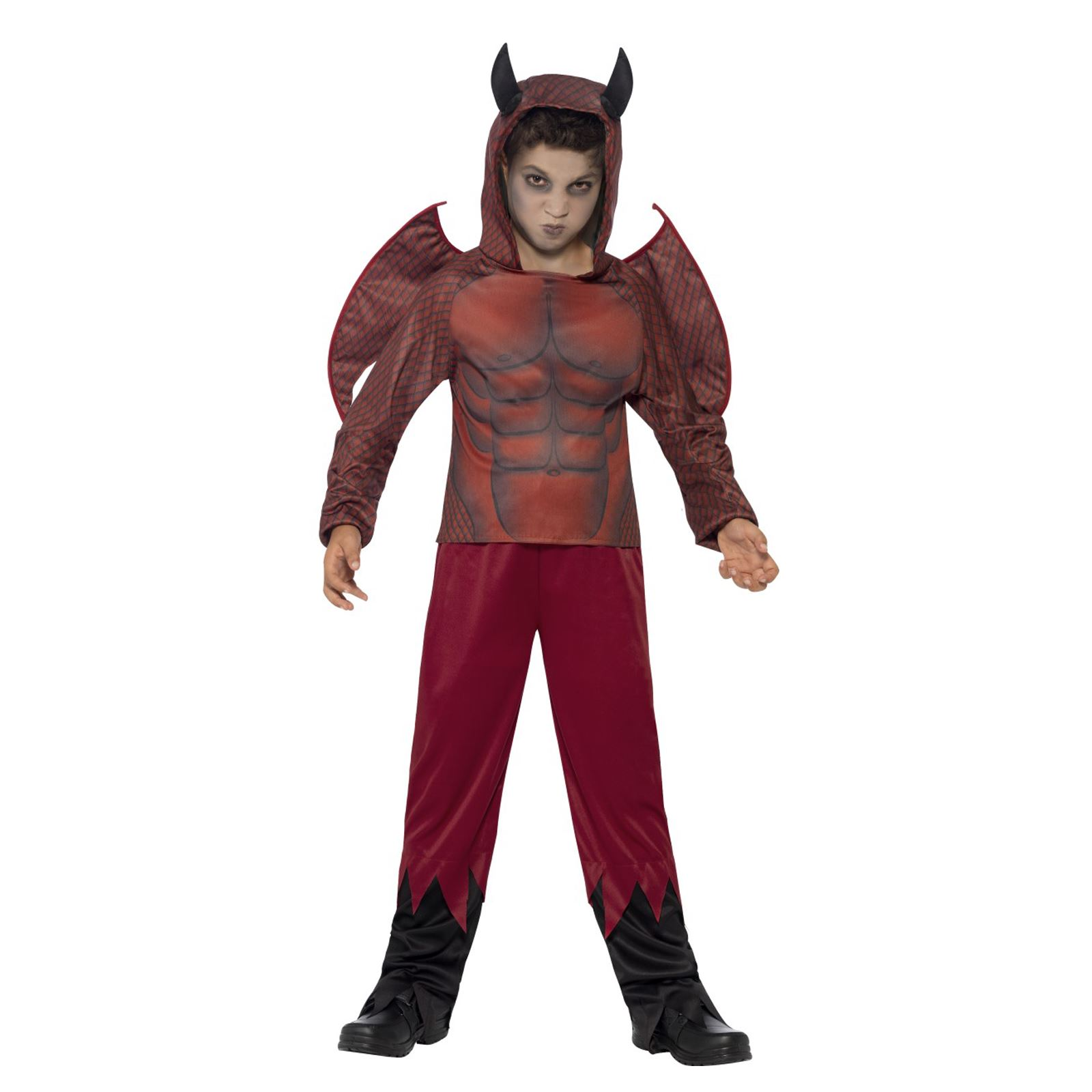 Lucifer Zombie Wedding: Kids Boys Deluxe Red Devil Costume Wings Horns Scary Satan