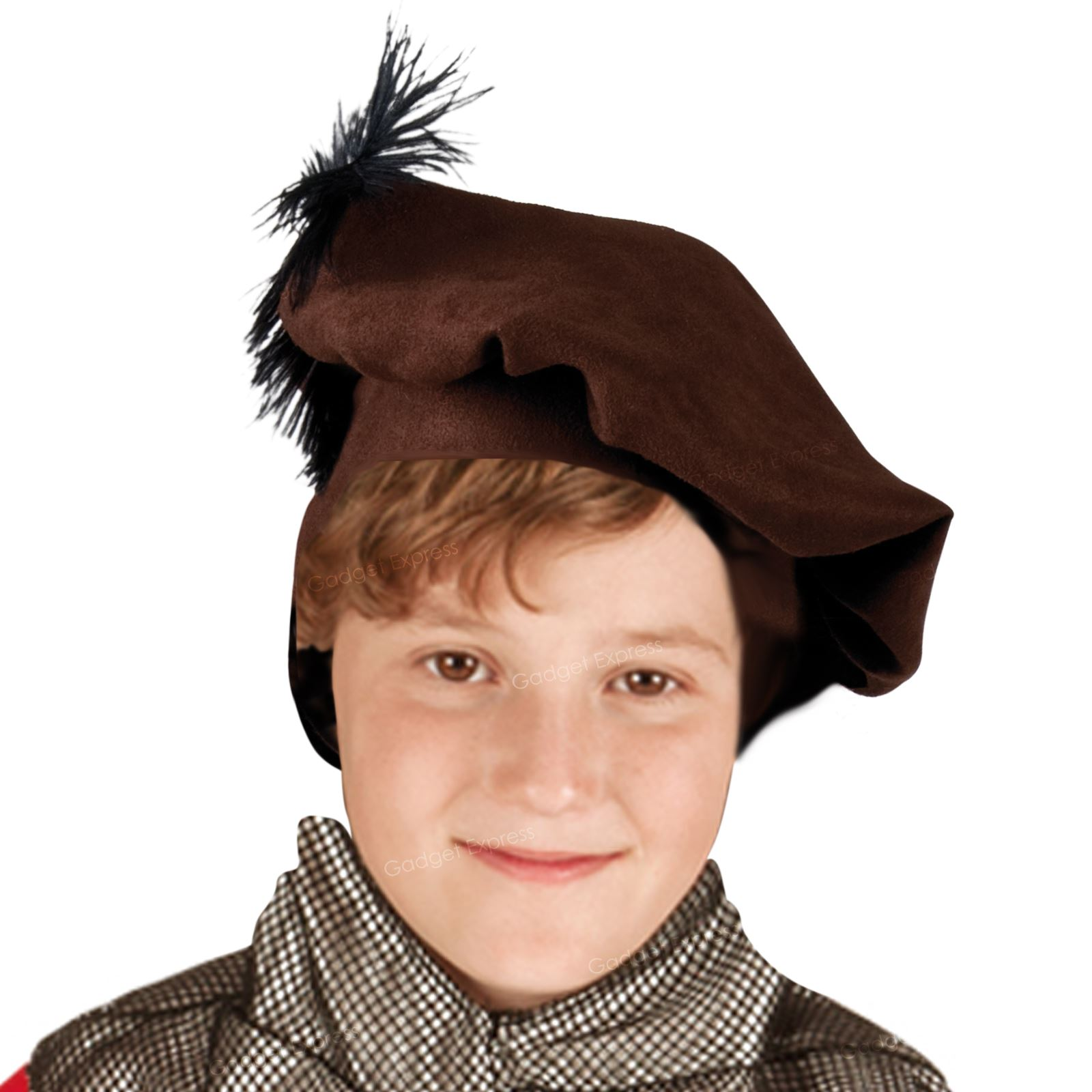 b000b5684b8b6 Boys Brown Medieval Friar Tuck Tudor Fancy Book Week Dress Hat Beret ...
