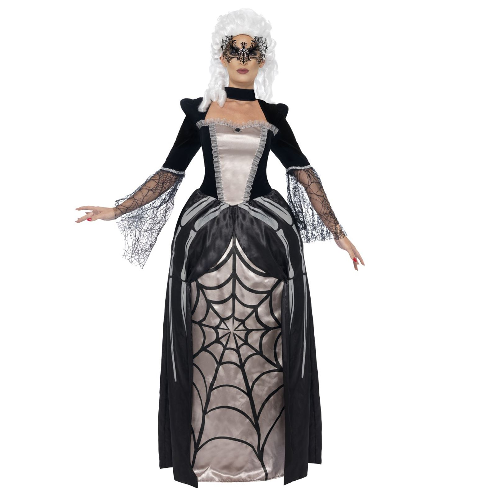 Ladies Black Widow Spider Baroness Costume Gothic Masquerade Ball ...