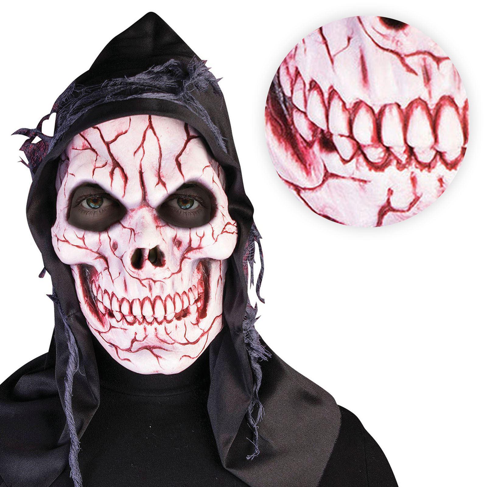 Black Hooded Bloody Skull Mask Reaper Zombie Horror Halloween ...