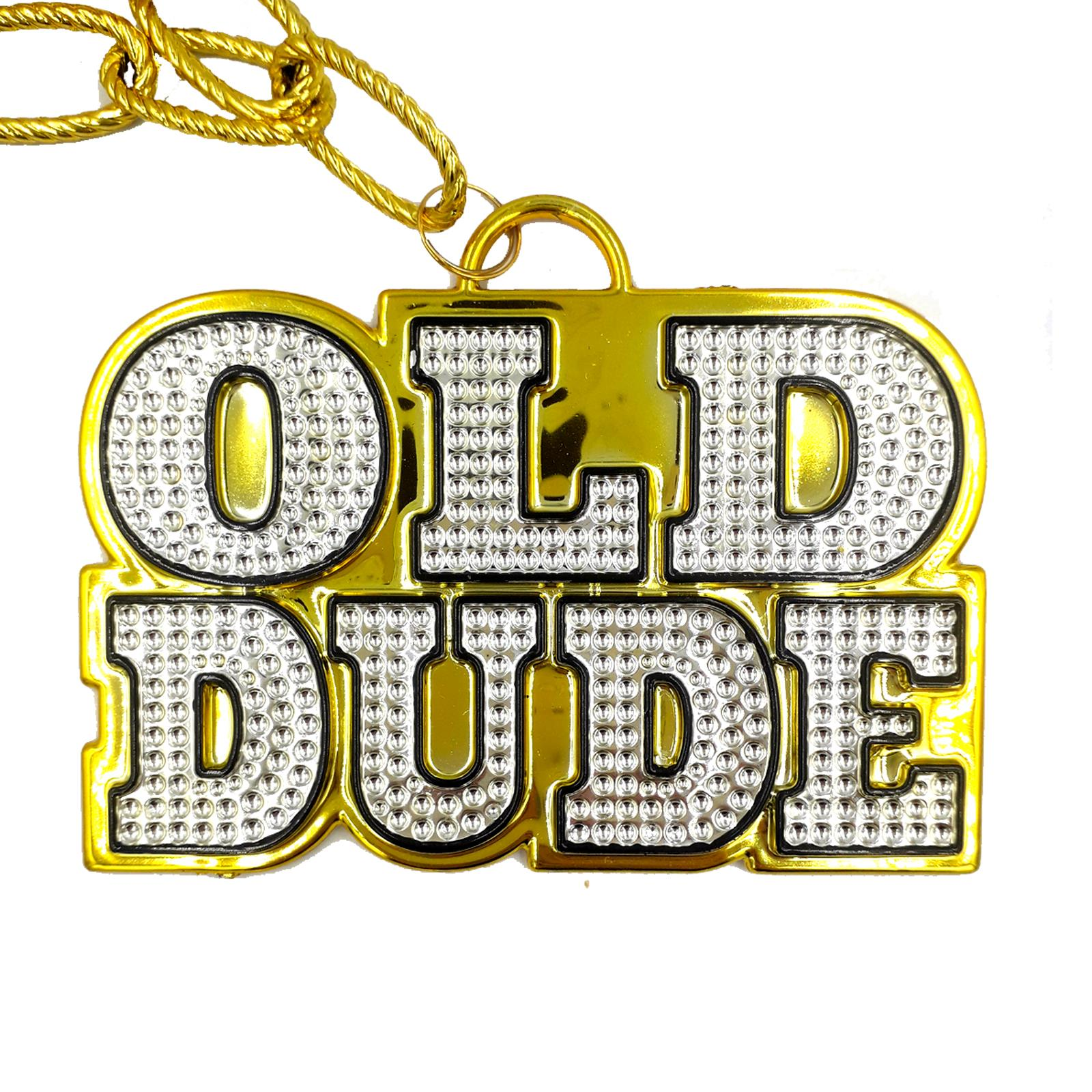 Mens Gold Old Dude Chain Necklace Birthday Gangster Pimp Fancy Dress Accessory