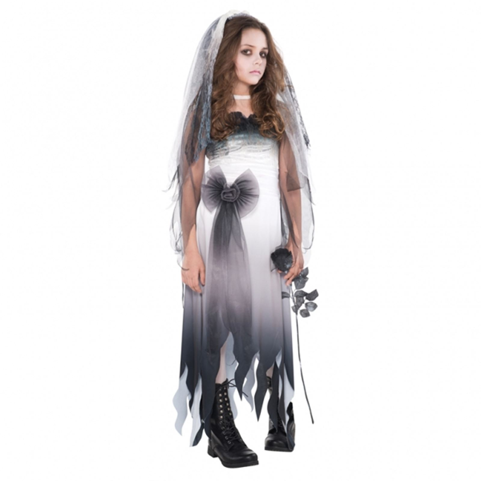 Teen Corpse Bride Halloween Ghost Wedding Zombie Girl Fancy Dress