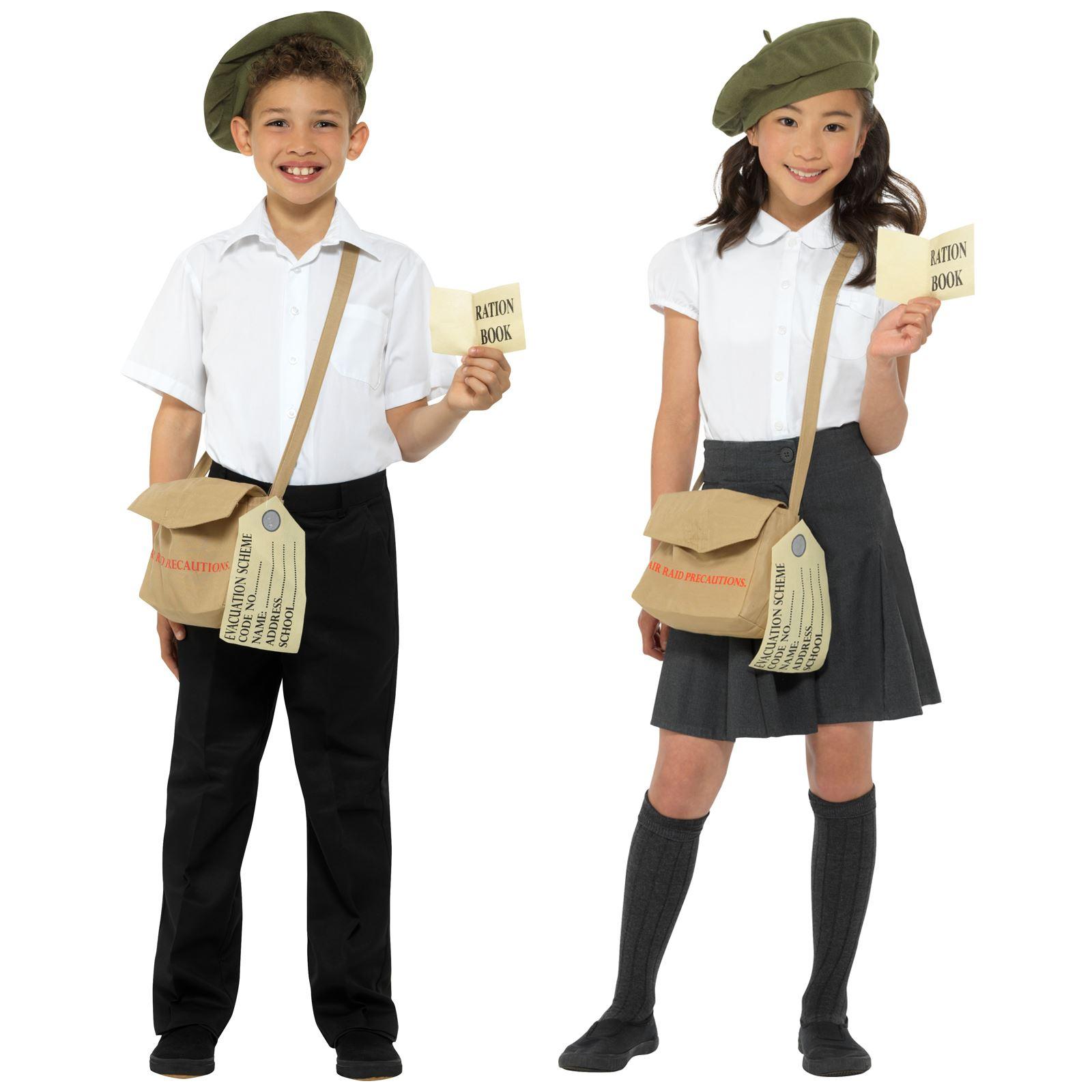Girl Boy Historical 40s Instant Kit Green Beret Hat Satchel Bag Tag Fancy Dress
