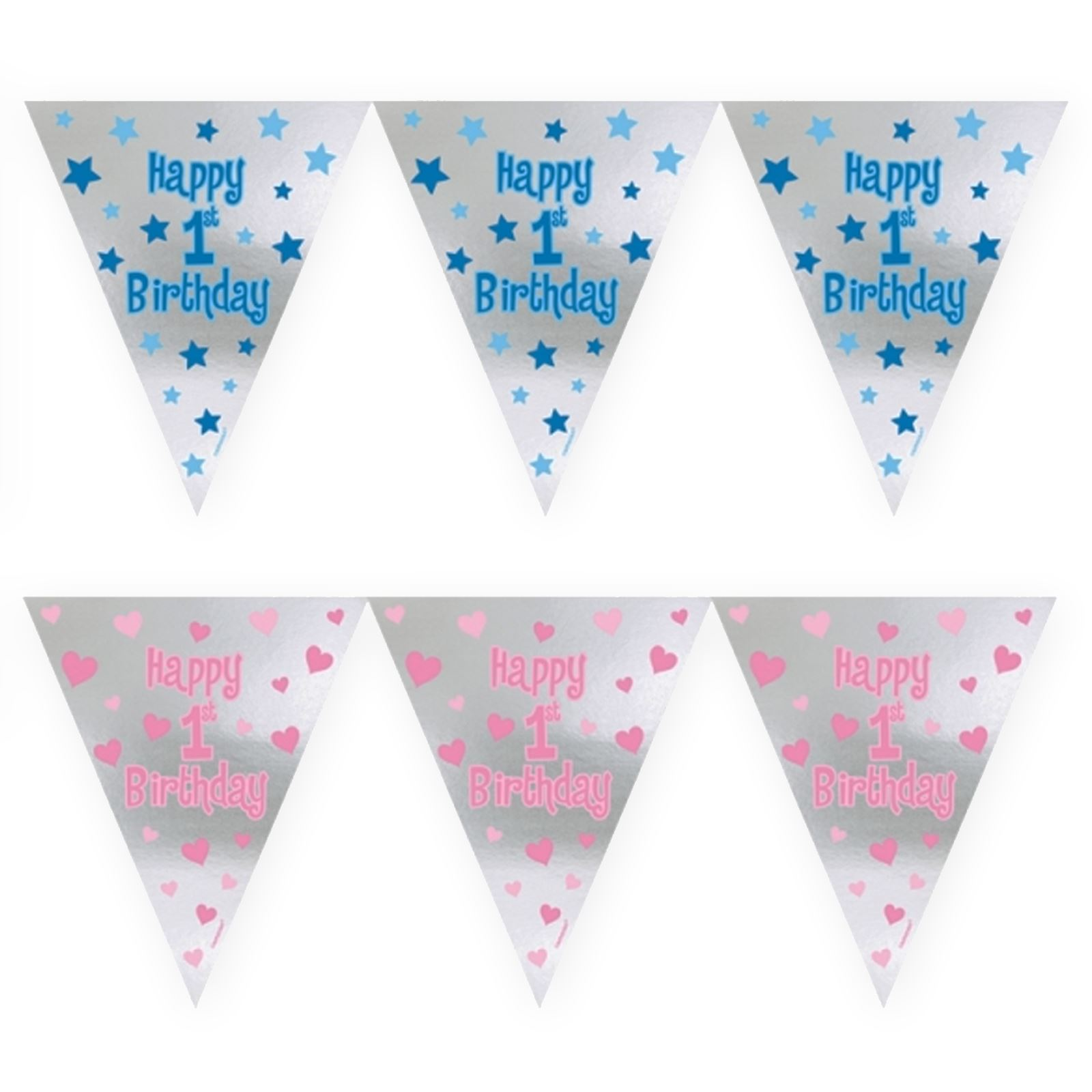 GIRLS 1st BIRTHDAY PARTY BUNTING PINK AND SILVER ONE