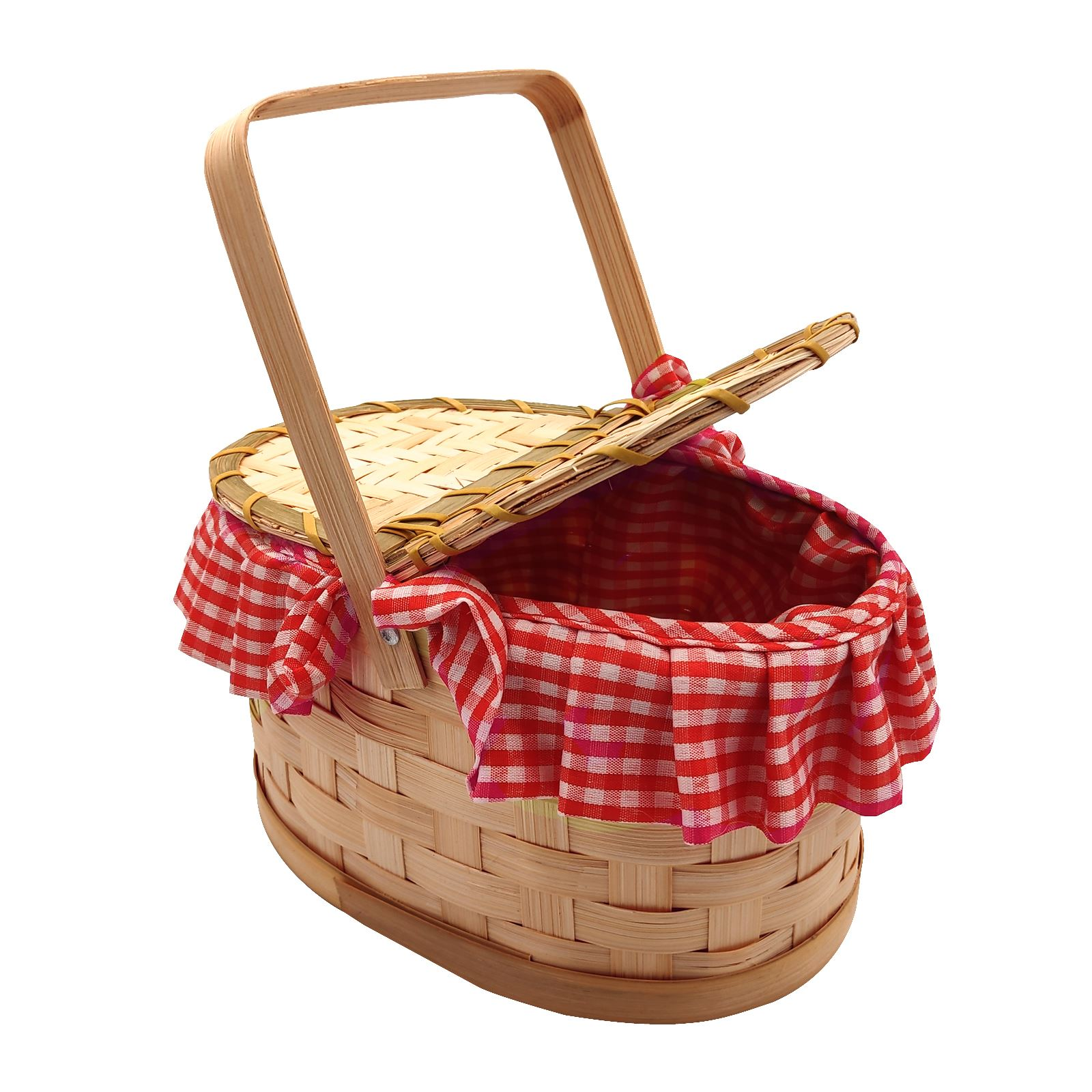 Red Riding Hood Woven Basket Gingham Fairy Tale Fancy Dress Costume Accessory