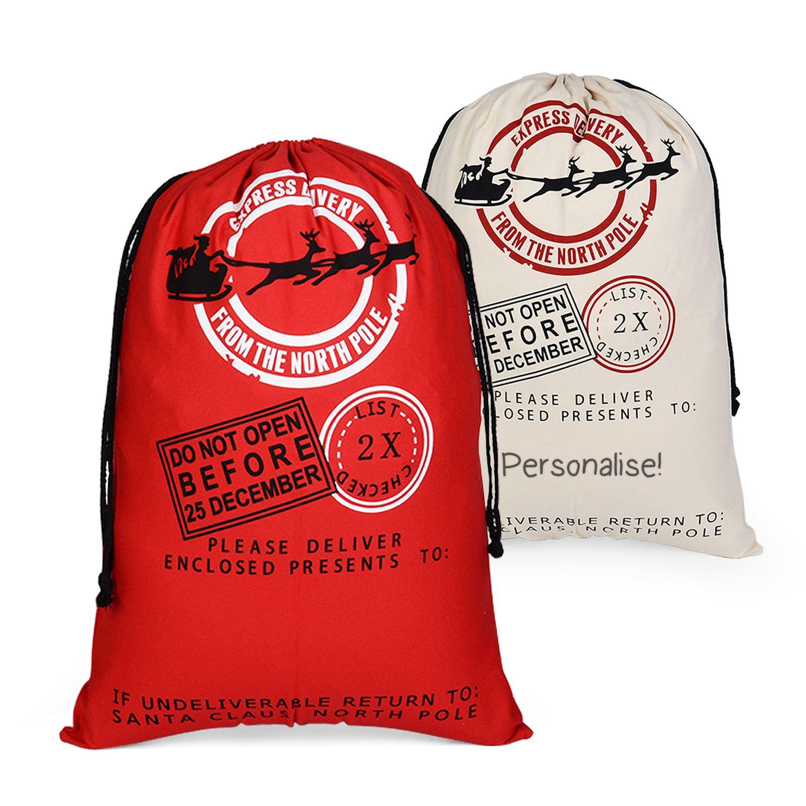 Christmas Santa Sack Stocking Extra Large Red Father Xmas Gift Present Bag HD