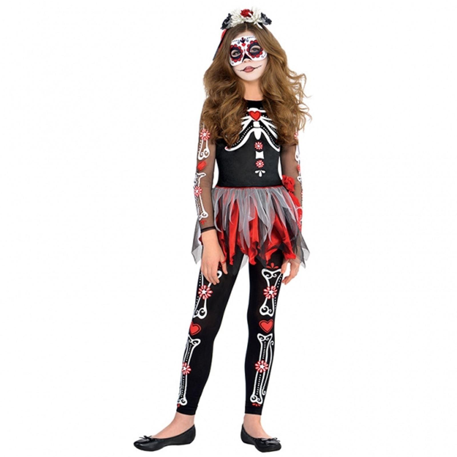93bdfd4e4e336 Kids Girls Sugar Skull Bride Day of the Dead Halloween Fancy Dress ...