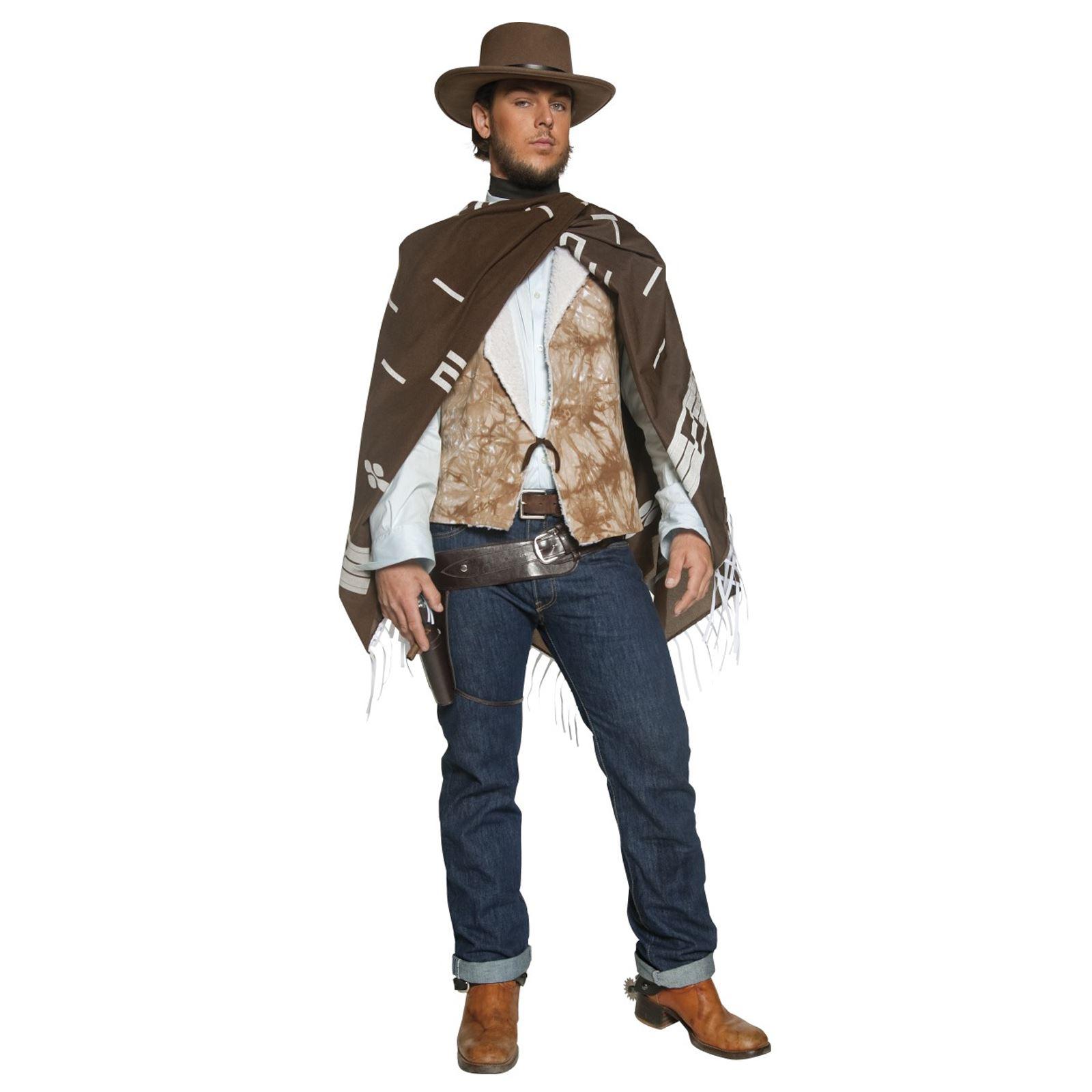Men/'s Brown Cowboy Gunman Hat Western Clint Eastwood Movie Fancy Dress Stag Fun