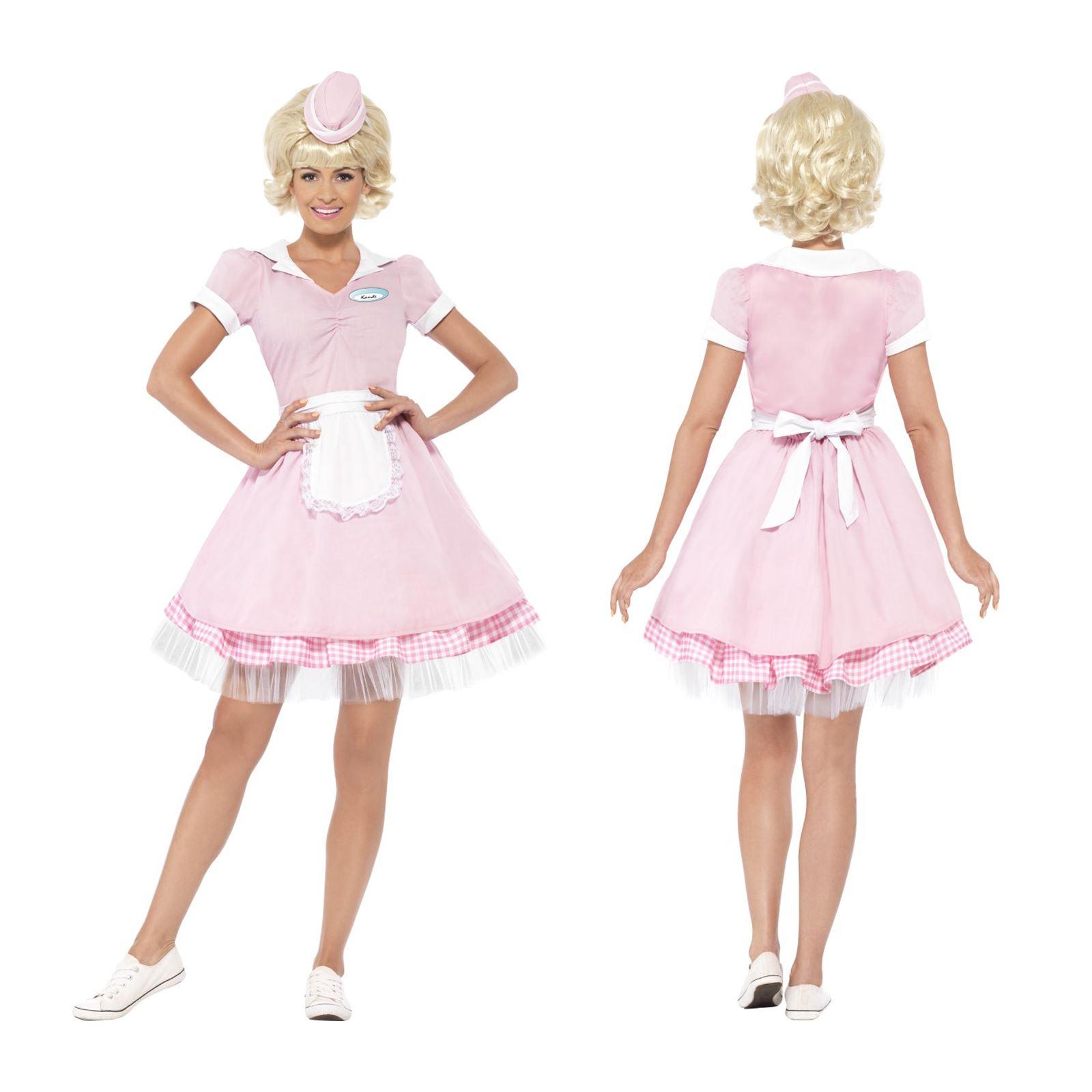 Ladies Pink Diner Girl 50s Waitress Costume Fancy Dress