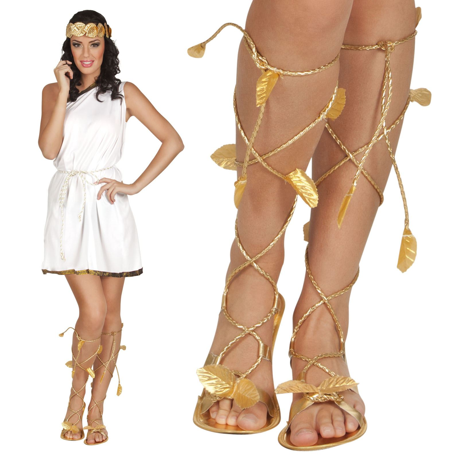 Fancy Dress Gold Sandals Greek Roman Egyptian Cleopatra Goddess toga Shoes