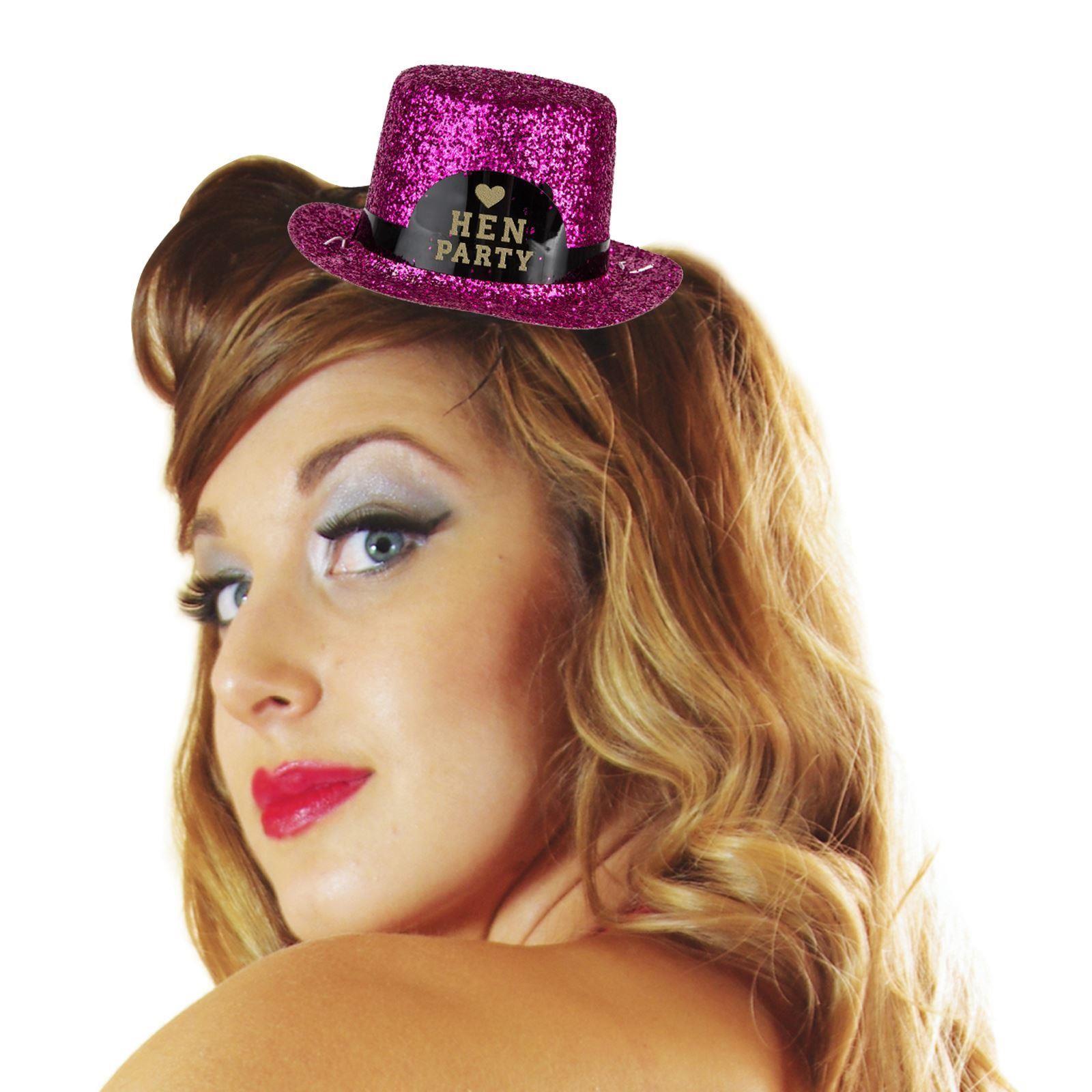 Damen Mini Glitzer pink Hen Party Frauenabend Hut Kostüm Tiara Spaß ...