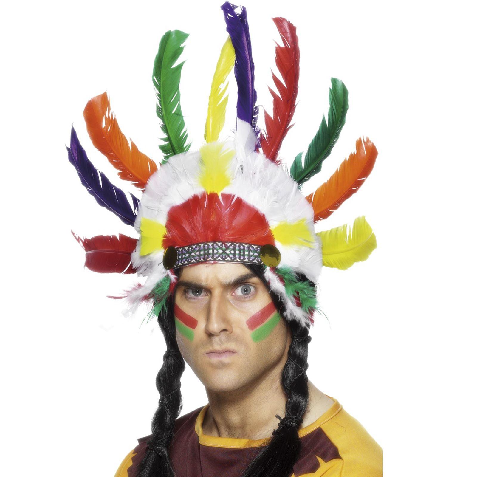 Red Indian Headdress Headpiece Native American Fancy Dress Costume Accessory