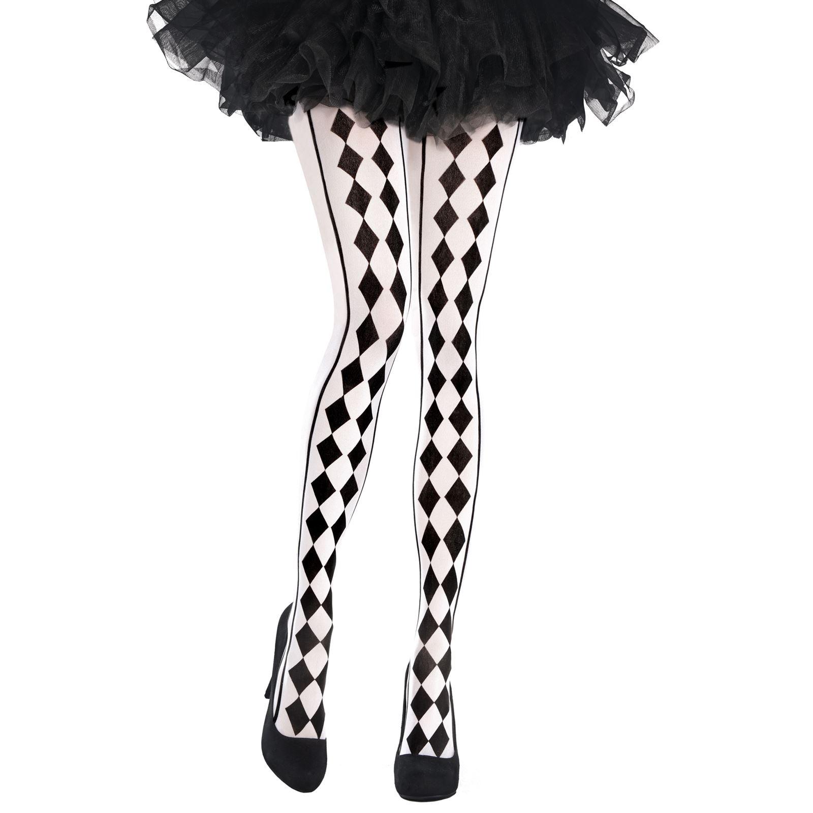 2 Colour Leg Tights Pantyhose Jester Clown Harley Quinn Fancy Dress Black White