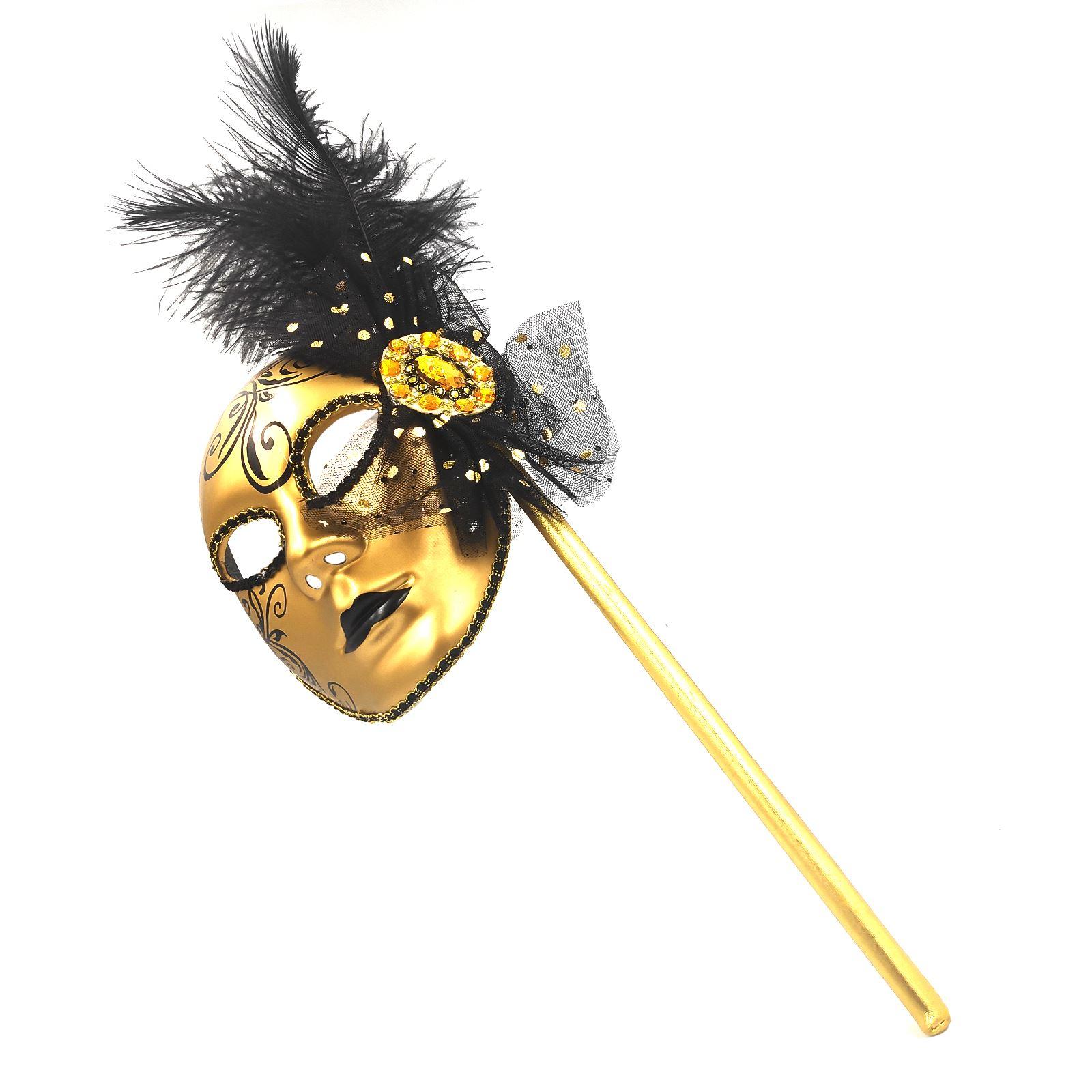 d9c8890782c00 Mujer Dorado Máscara Veneciana Bufón Masquerader Baile Stick Fiesta ...